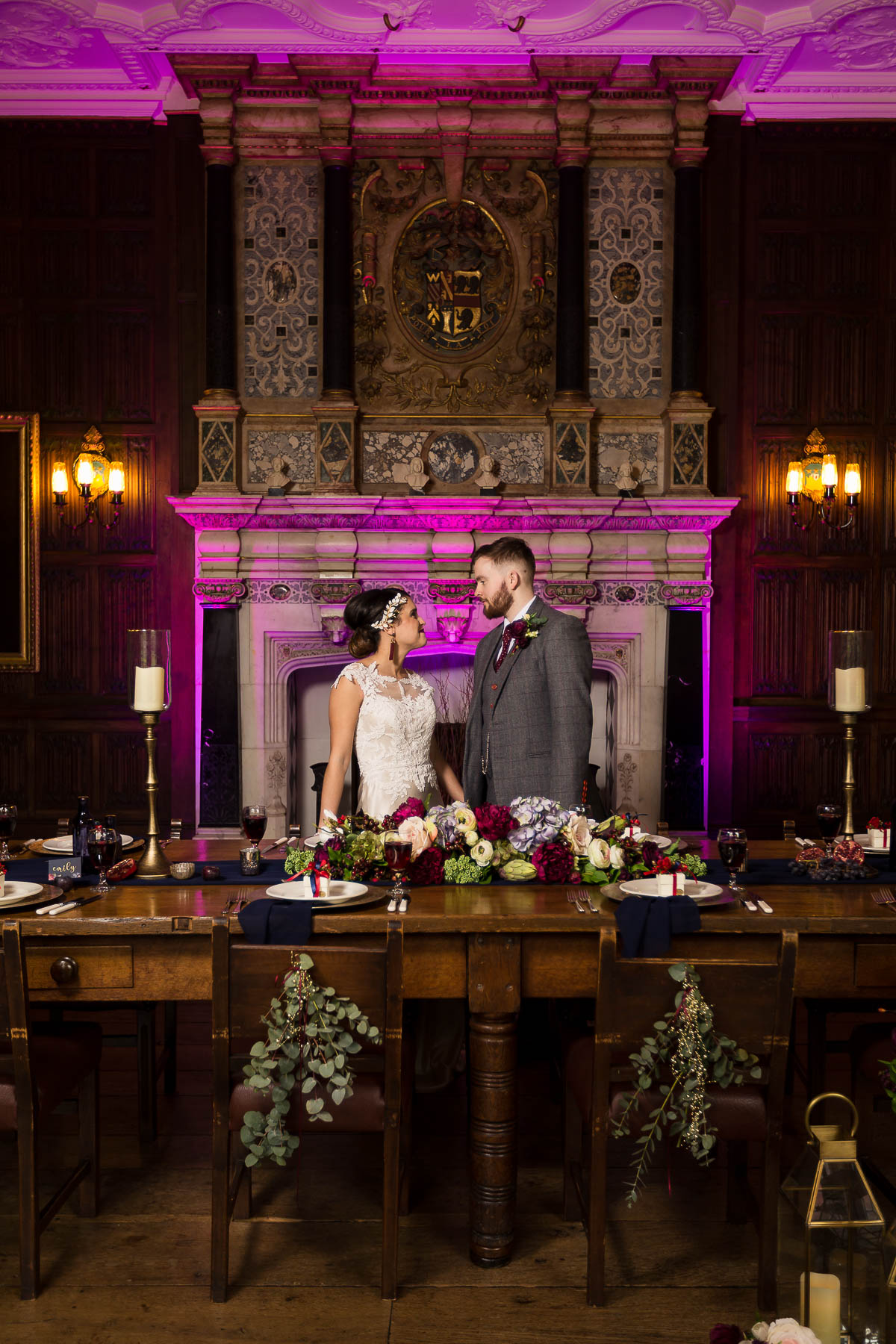 Red berry and navy wedding ideas Rothamsted manor fireplace hertfordshire