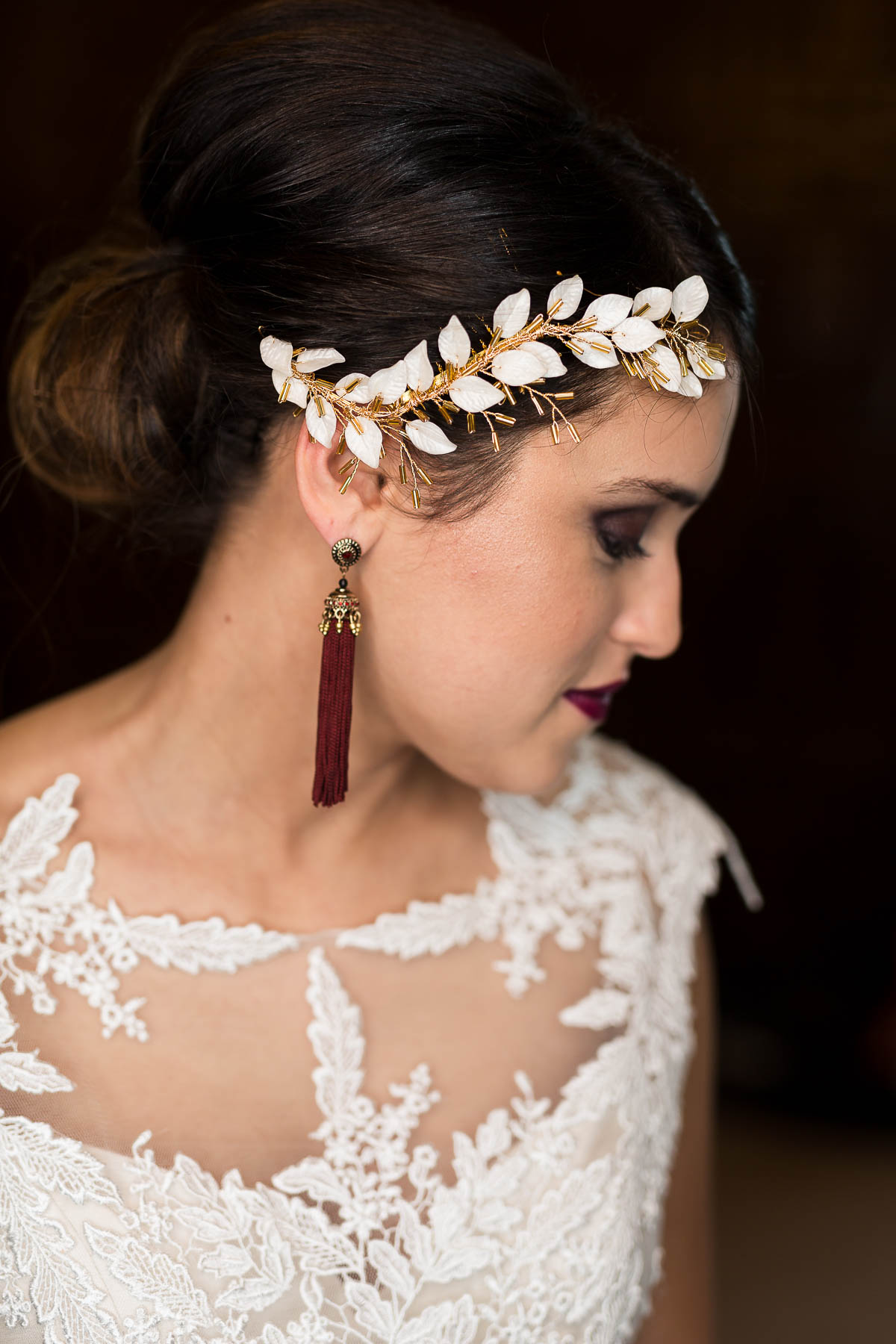 red berry and navy wedding ideas bridal hair braid from Rachel Louise bridal in befordshire
