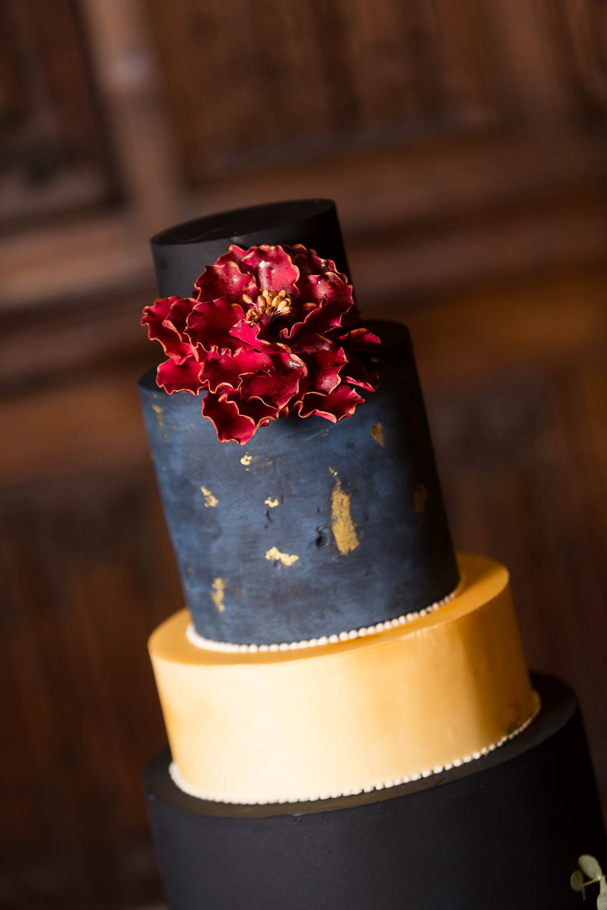 Red berry and navy wedding cake inspiration