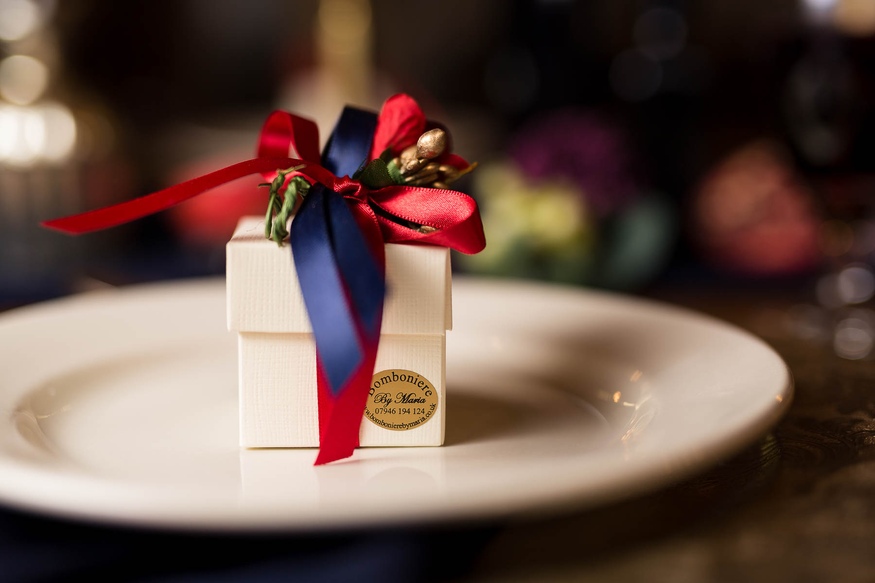 Red berry and Navy wedding favours