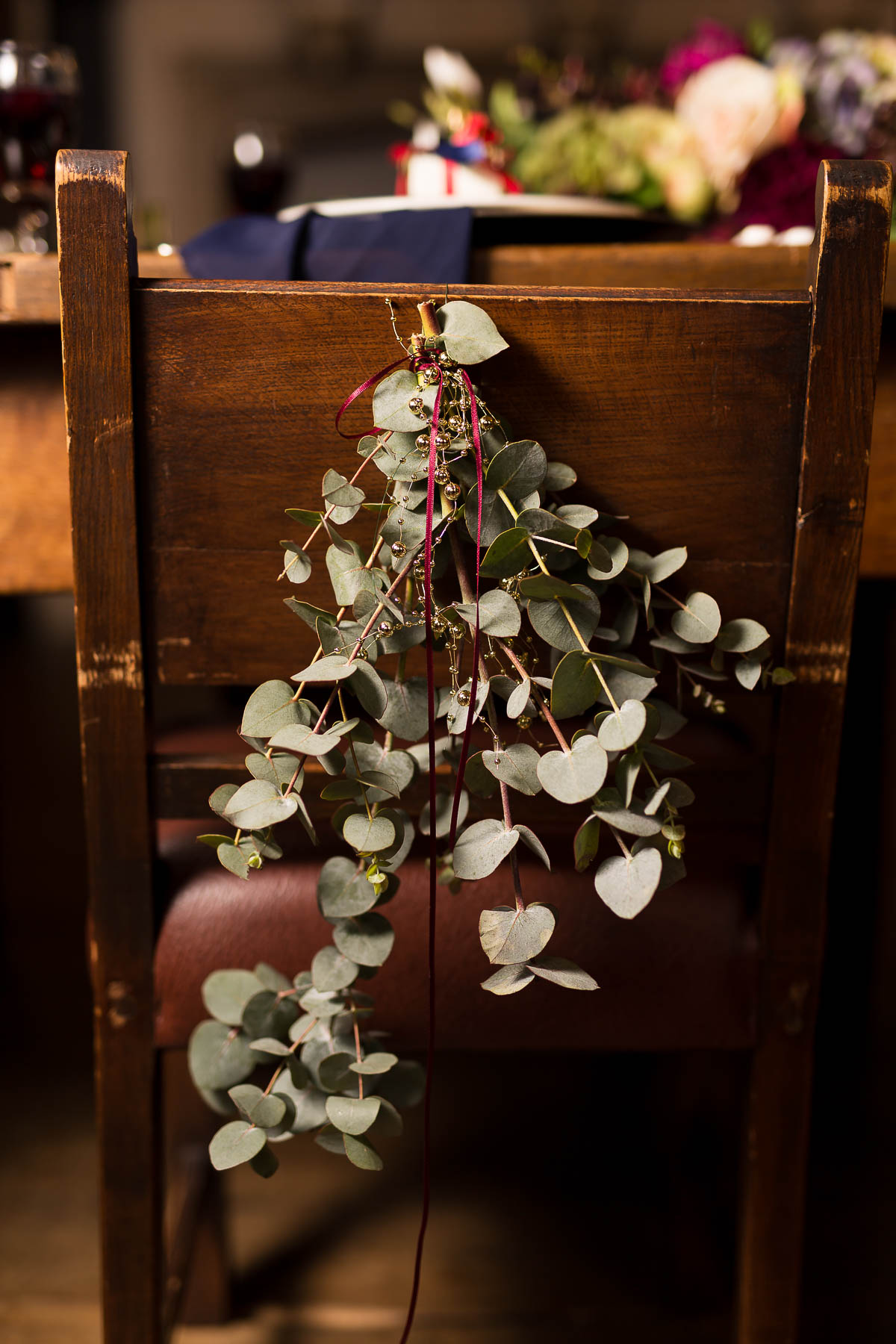 wedding flowers for the back of chairs hertfordshire