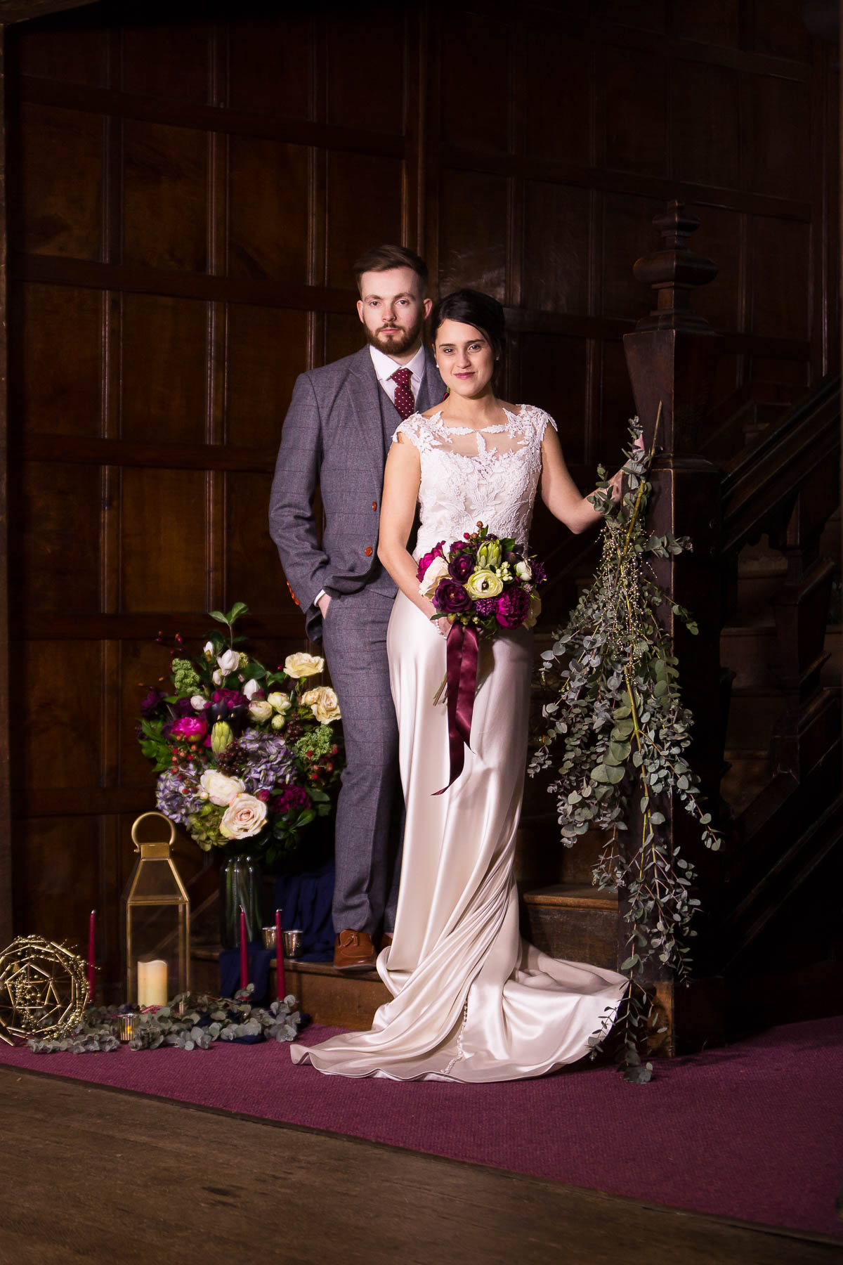 red berry and navy wedding inspiration couple portraits hertfordshire