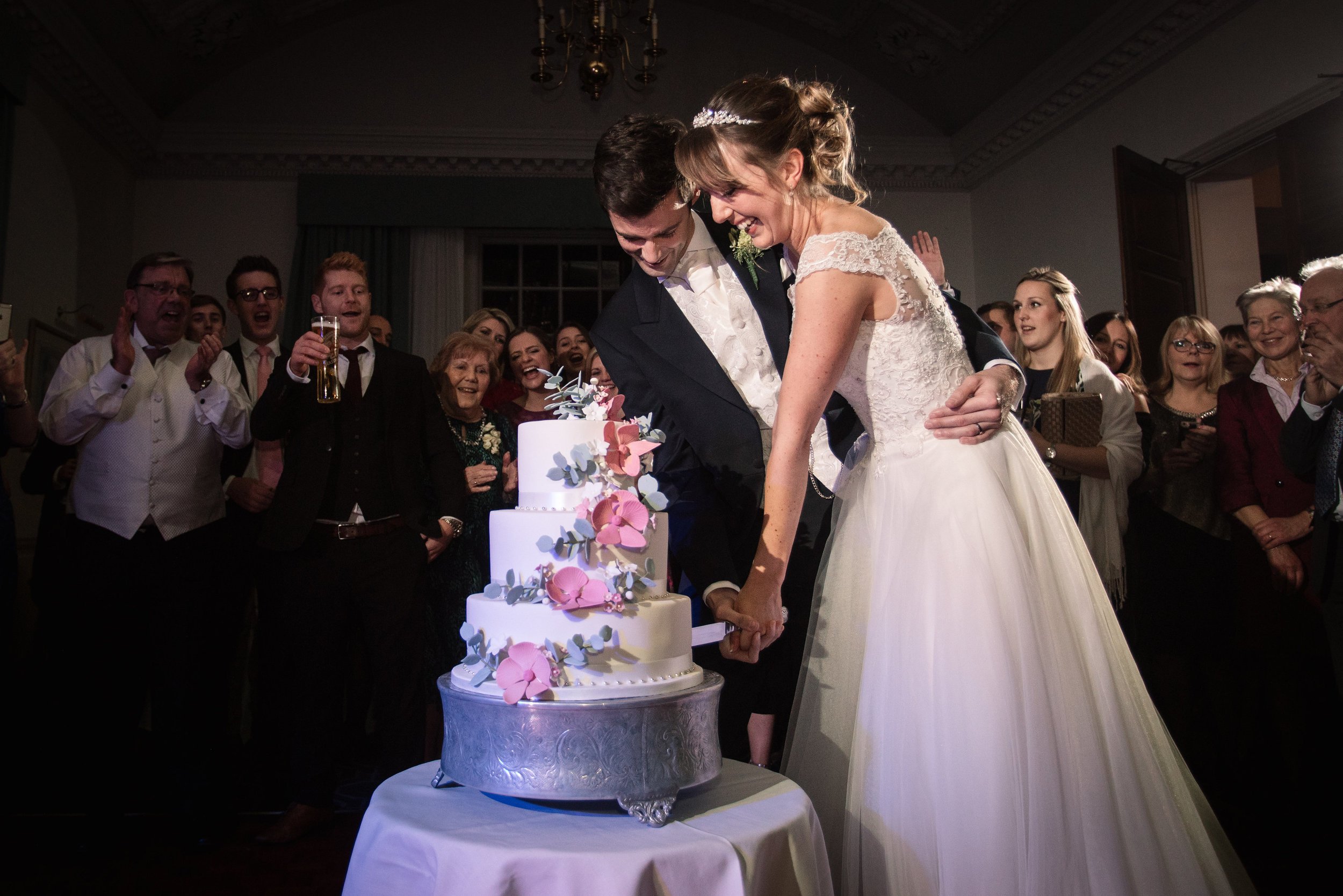 Elegant mansion house cake cutting wedding hertfordshire becky harley photography