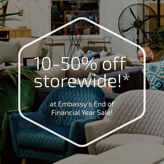 Our End of Financial Year Sale ends tomorrow!⠀ That means you only have two days left to take advantage of a huge 10-50% off everything storewide!*⠀ Do not miss this opportunity! Head into our showroom on Gordon Street in West Perth.⠀ *Prices as marked. Only while stocks last. Not valid in conjunction with any other offer. Offer valid until 30th June 2019.⠀ .⠀ .⠀ .⠀ #embassyhome #embassyhomeoutfitters #interiordesign #interiordesigninspo #perthinteriors #perthfurniture #customfurniture