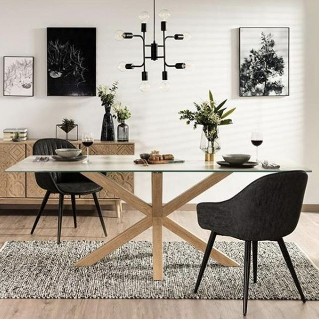 With its glass top and oak base, the Arya dining table will make your space appear big, bright and beautiful! 😍 It measures at 150cm x 90cm, making this contemporary-style piece the perfect size for family dinners or small dinner parties with friends! 😊 . . . #embassyhome #embassyhomeoutfitters #interiordesign #interiordesigninspo #perthinteriors #perthfurniture #customfurniture