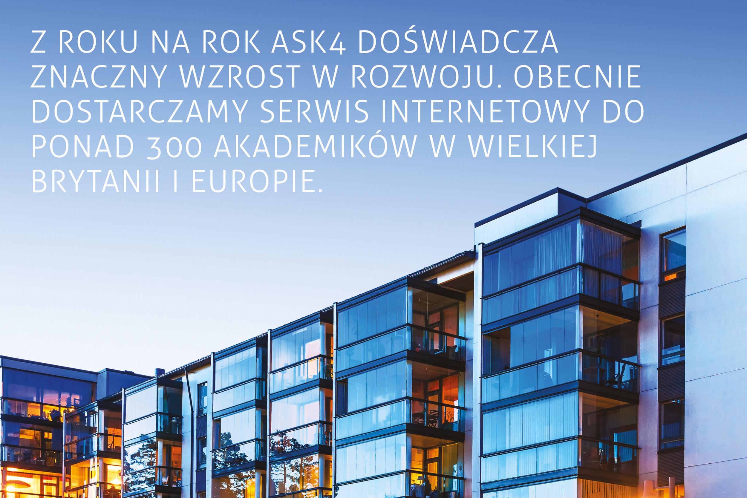 Z roku na rok ASK4 doświadczyło znaczny wzrost w rozwoju. Obecnie dostarczamy serwis internetowy do ponad 300 akademików w Wielkiej Brytanii i Europie