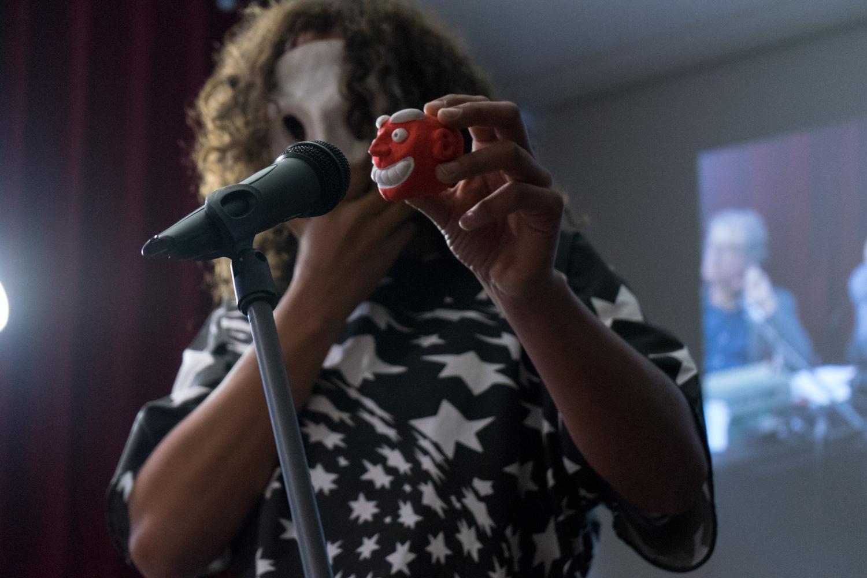 One half of duo Jip Piet performing live