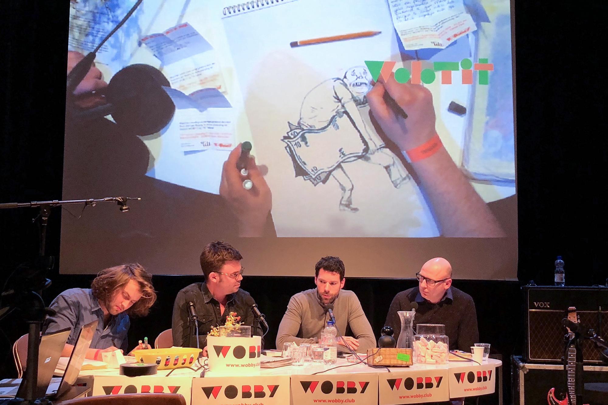 Artist Lukas Verstraete, interviewer Lukas Meijsen, writer Henk van Straten and radiohost Jeroen de Leijer