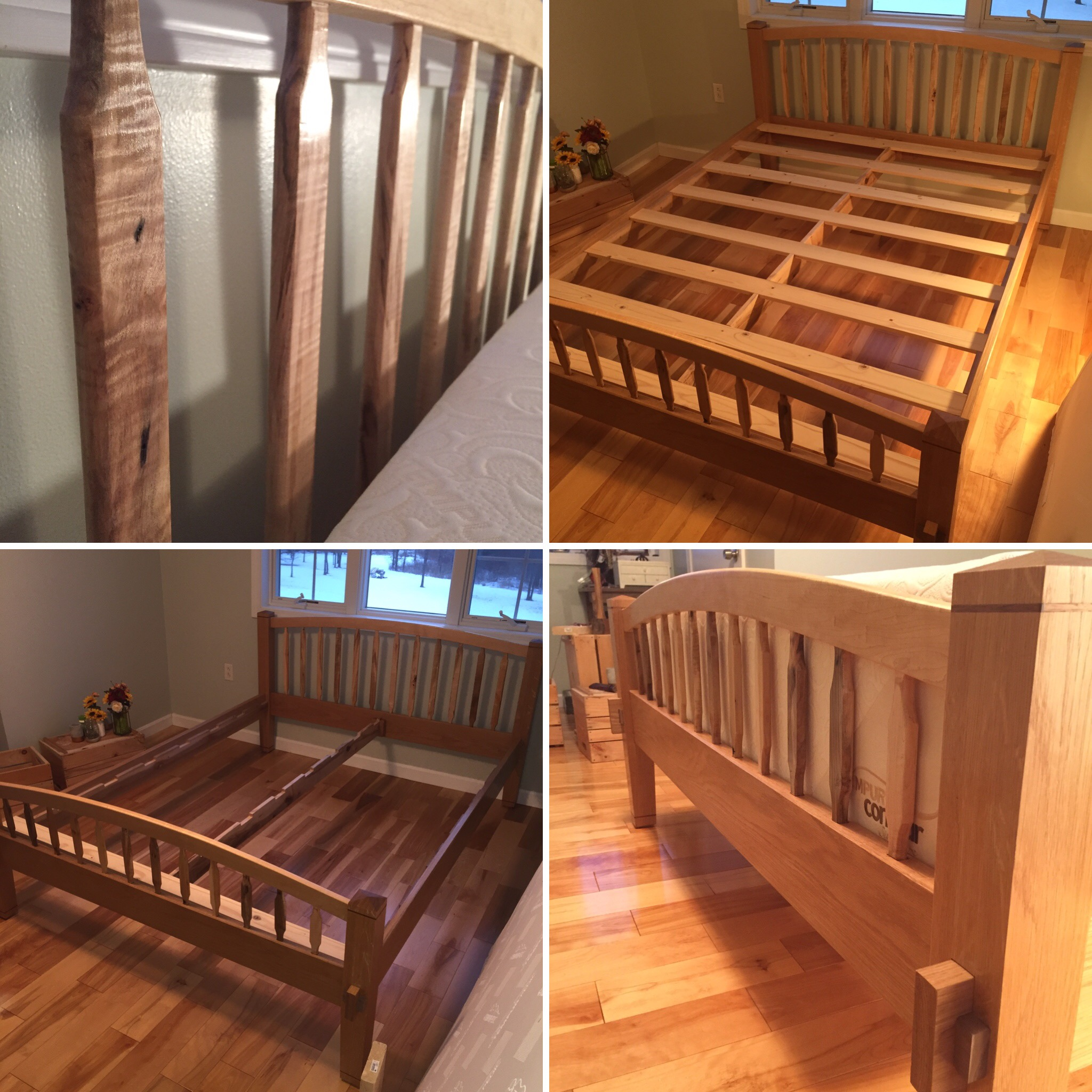 Shaker Style Bed - This shaker-style queen-sized bed is Kyle's largest project to date. The frame is made of white oak with black walnut accents, and the headboard and footboard arches and rails are from spalted ambrosia maple. The bed comes apart for easy moving, however not a single steel component was used. All joinery uses traditional methods suched as mortise and tenons.
