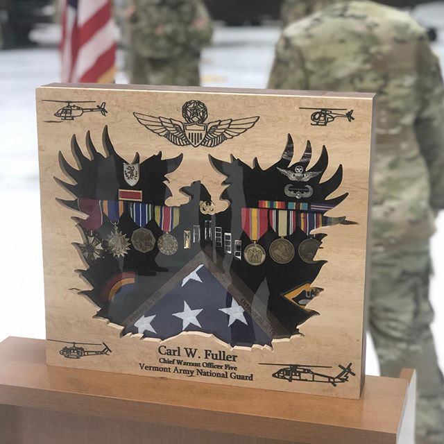I recently had the honor of creating a shadowbox for a retiring Chief Warrant Officer 5 who has served in the Army for 36 years, flying four separate aircraft during his time. The box was made from Birdseye maple and black walnut, with a velvet interior. The lid was created using seven separate cutting programs utilizing my homemade CNC, with an acrylic panel protecting the medals and flag inside. The initial design concept was based off of one provided to me, I wish I knew who to credit for the original. #kbwoodcraft #maker #vermont #cnc #toolstoday #usarmy #army #armyaviation #802 #vt #maple #walnut