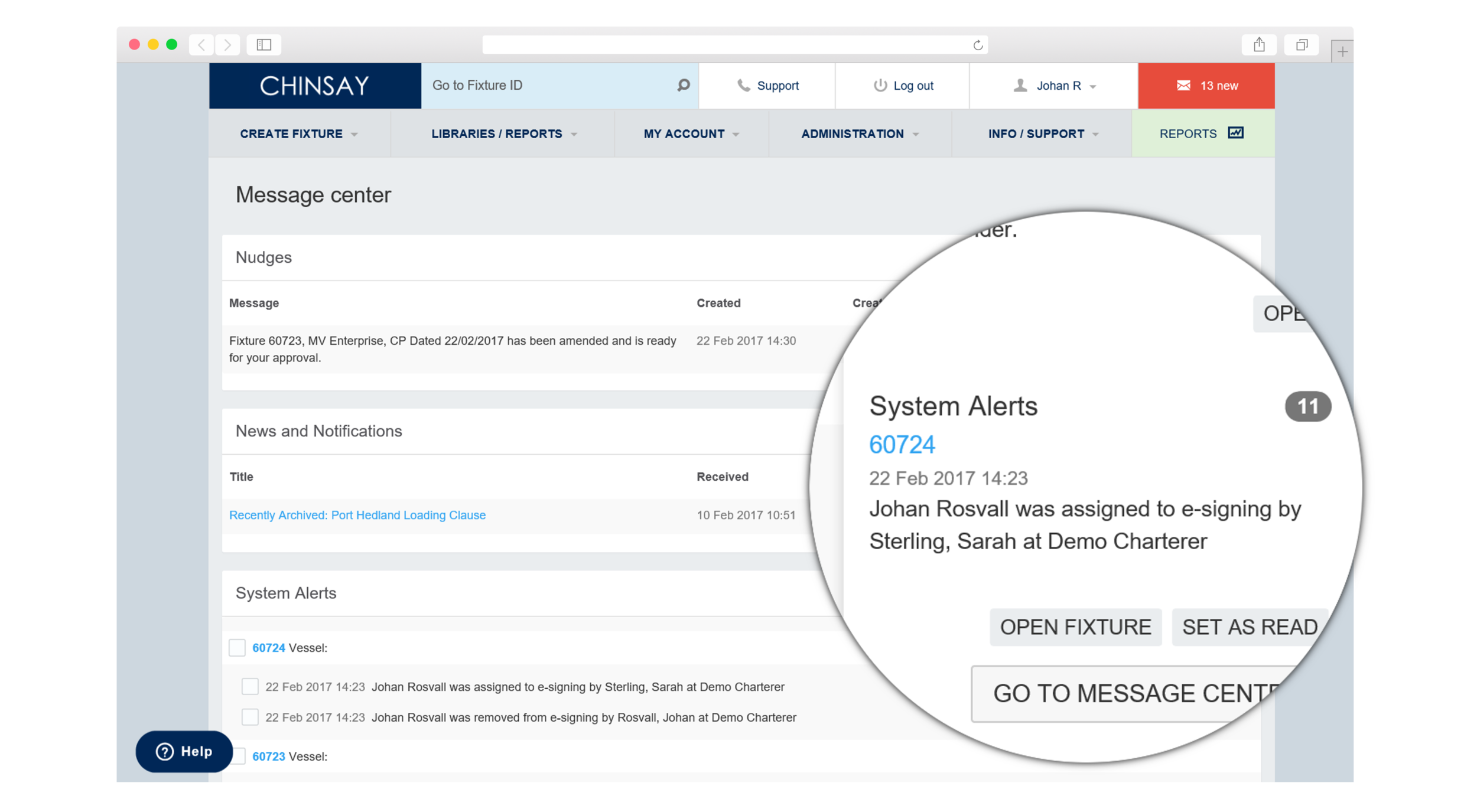 The Chinsay notification system makes internal and external collaboration easier with real-time updates, sent to all stakeholders via e-mail and the internal message centre