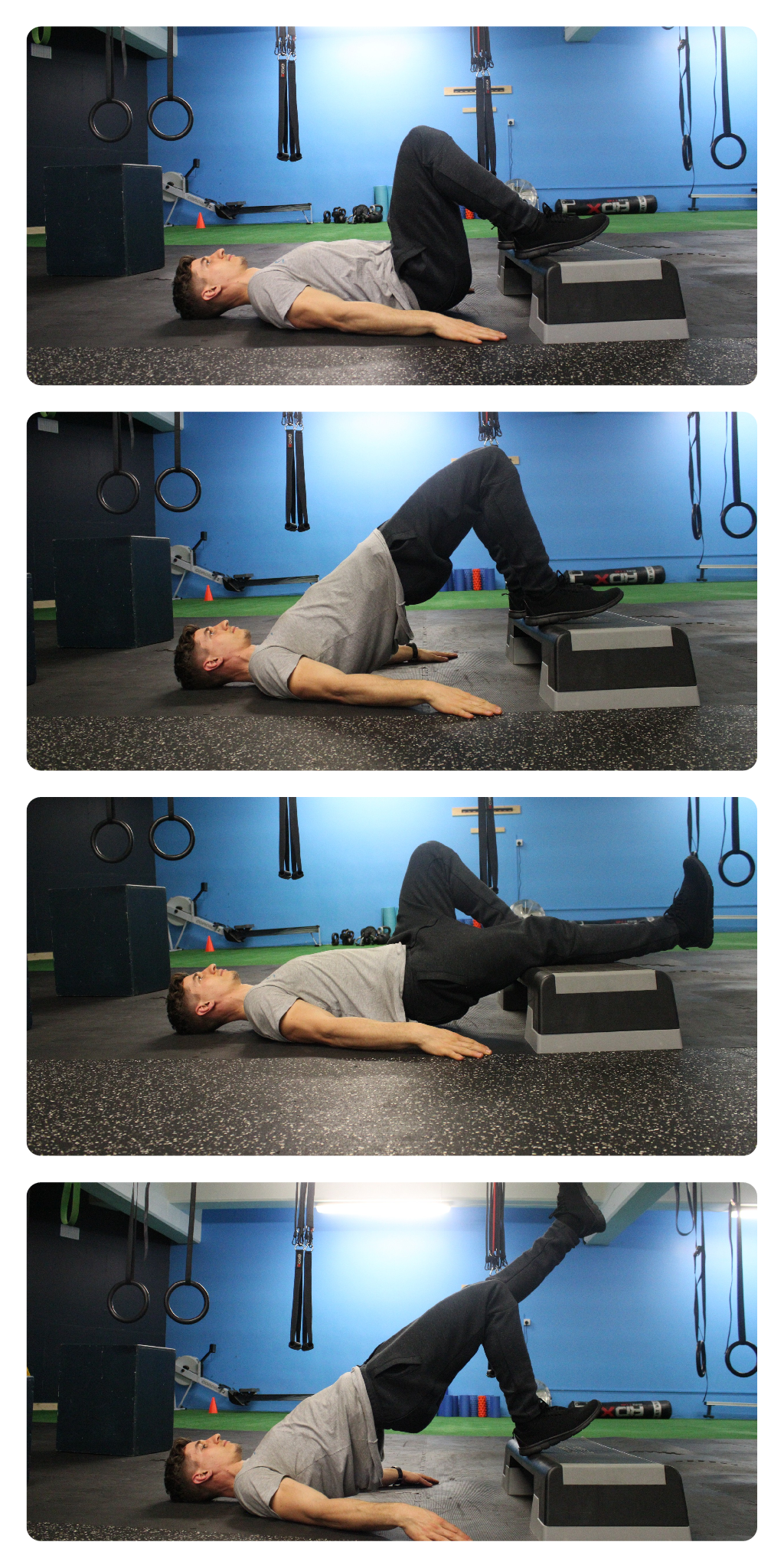 Exercise: Glute Bridges 12reps with 3 sec squeeze at top 3sets 5 Days/Week