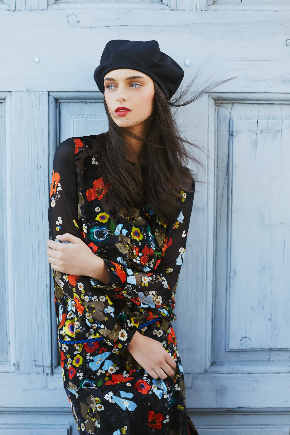 Stacey Van Berkel Photography I Carton House Travel Fashion Shoot I French Beret with Floral Dress I  Kildare, Ireland