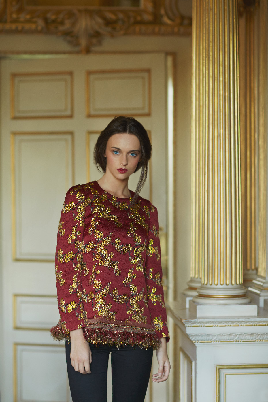 Stacey Van Berkel Photography I Fashion shoot in Gold Room with Red + Gold embroidered top I Carton House I Kildare, Ireland
