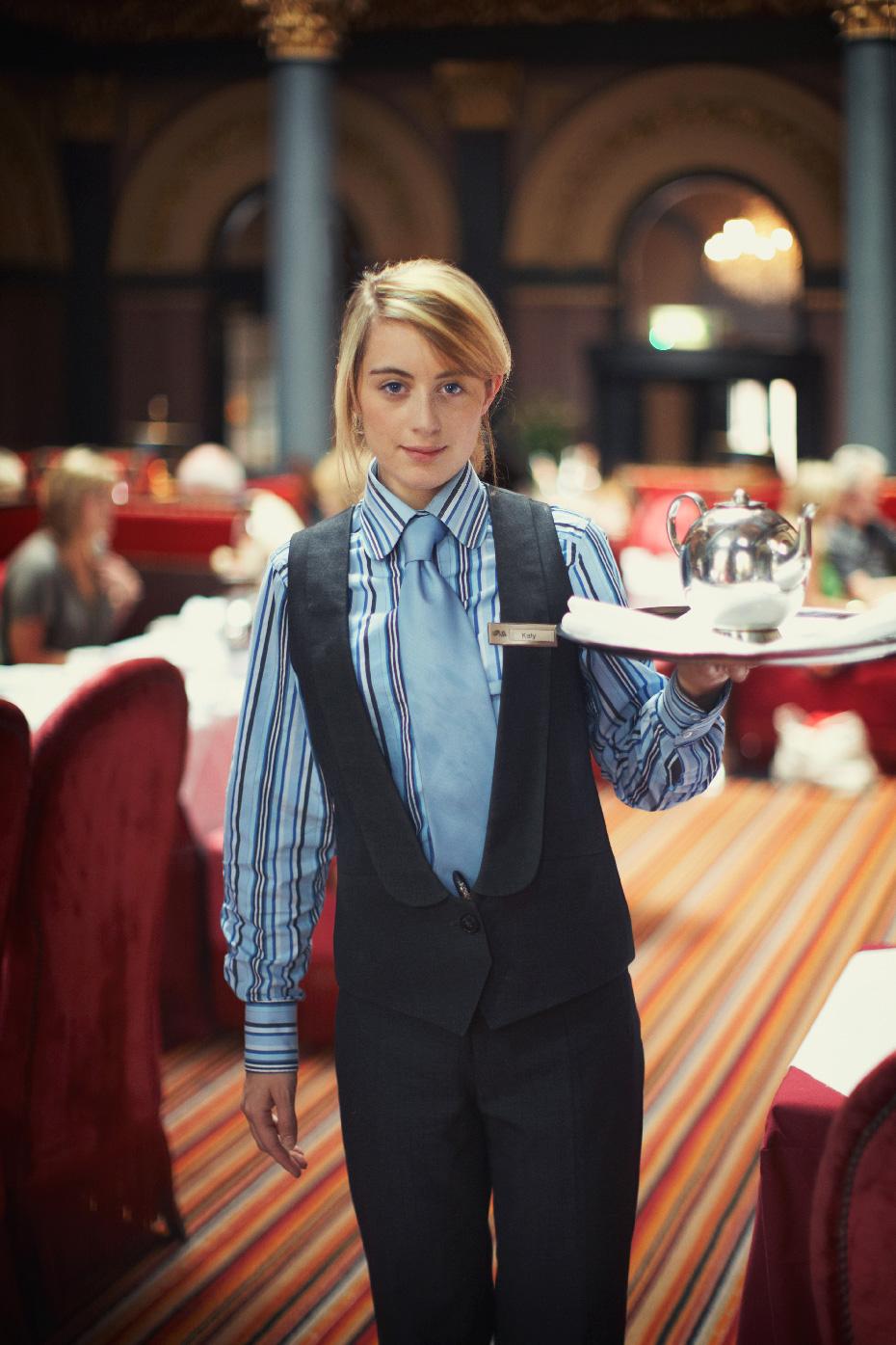 Stacey Van Berkel Photography I Beautiful Irish Girl serving High Tea at the Historic Merchant Hotel I Belfast, Northern Ireland