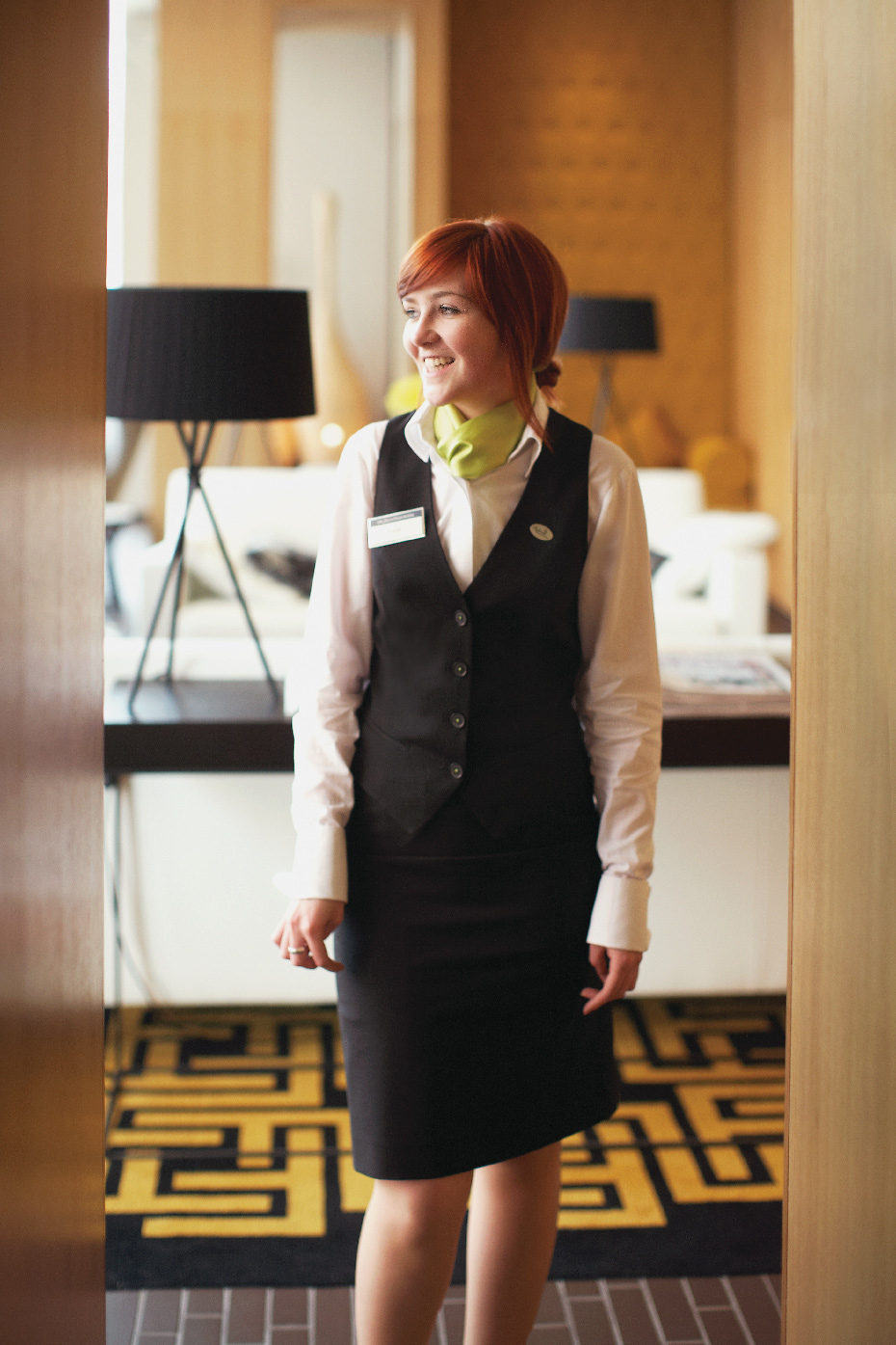 Stacey Van Berkel Photography I Beautiful Red Haired Girl in hotel lobby I Mustard + Black + White Decor