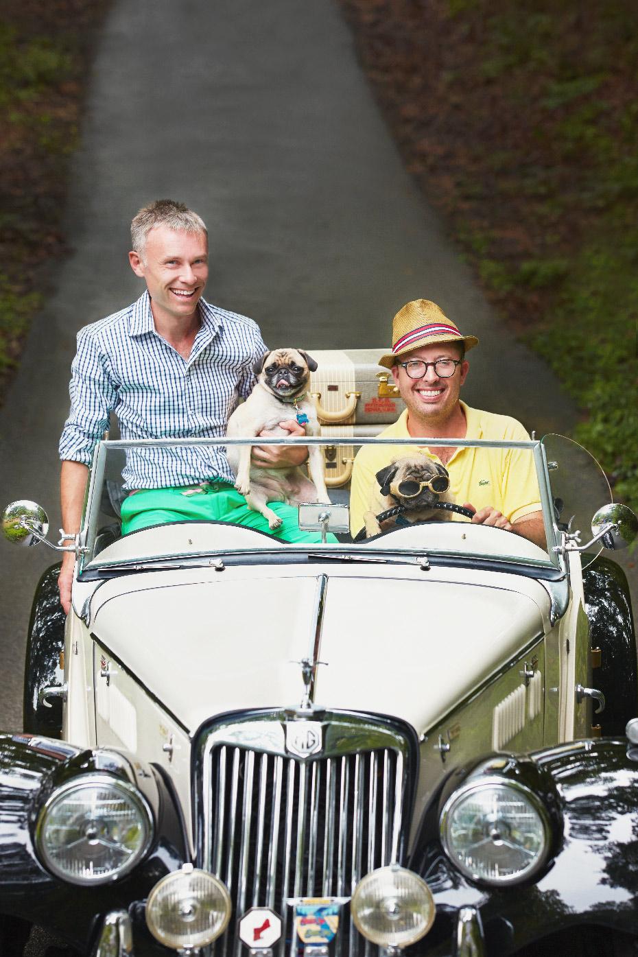 Stacey Van Berkel Photography I Mad Cap Cottage guys with pugs in vintage car I Jason Oliver Nixon & John Loecke I High Point, North Carolina