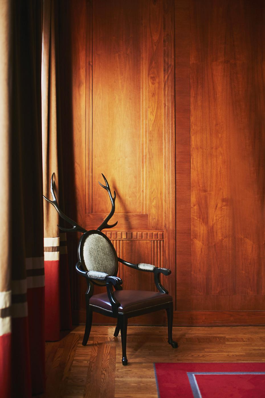 Stacey Van Berkel Photography I Antler chair in Paneled room I The Kimpton Cardinal Hotel I Winston-Salem, North Carolina