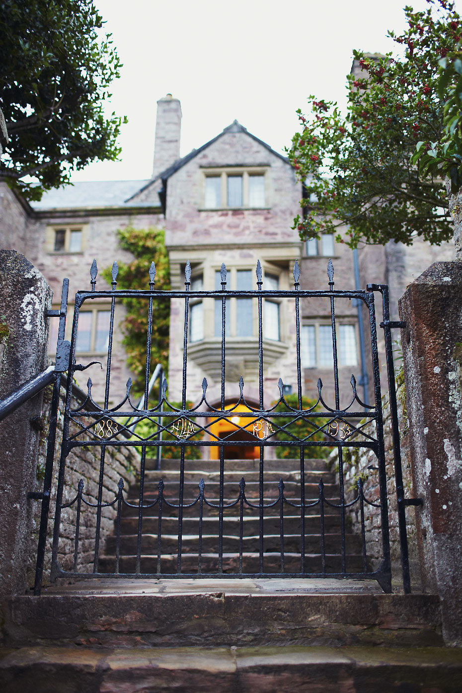 Stacey Van Berkel Photography I Ornate Wrought Iron gate I Bodyskallen Hall & Spa I Northern Wales