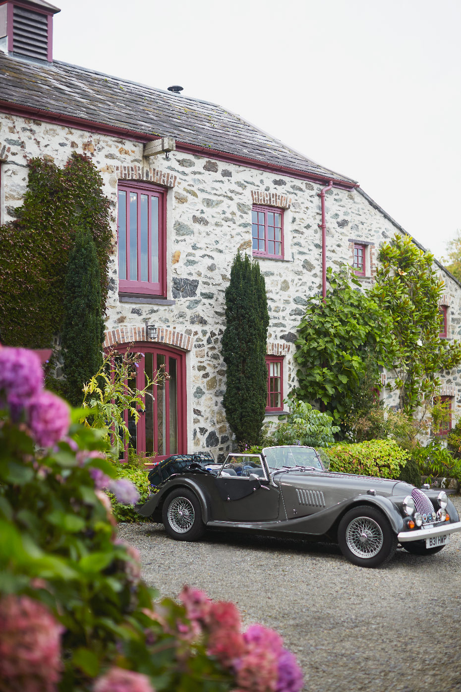 Stacey Van Berkel Photography I Bespoke British Car parked at picturesque Bed & Breakfast I Plas Cadnant, Anglesey, Wales