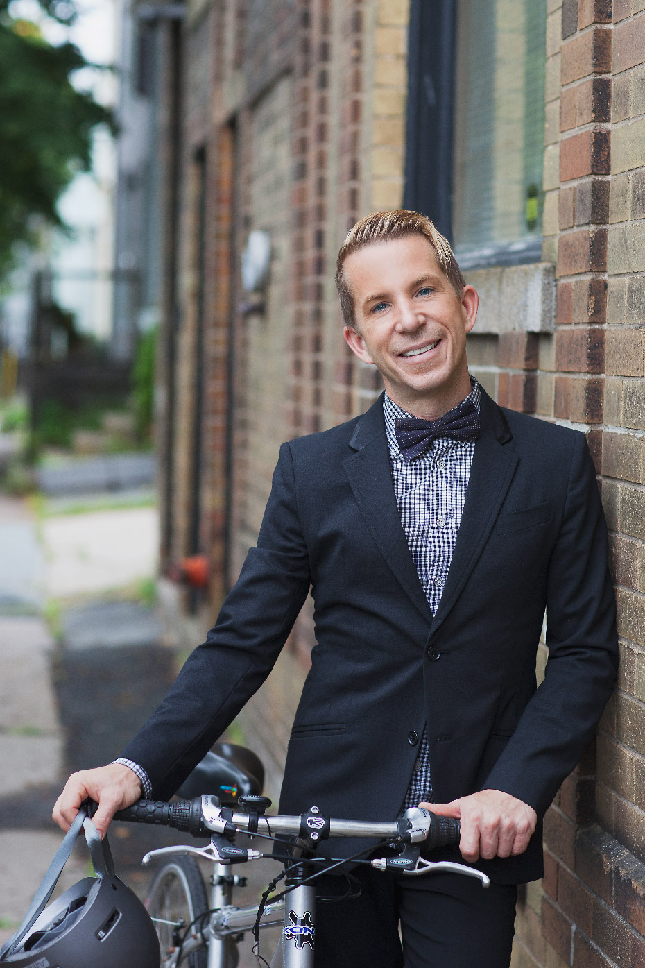Stacey Van Berkel Photography I Fred Connors dressed in dapper suit & bowtie with a bicycle I Halifax, Nova Scotia, Canada