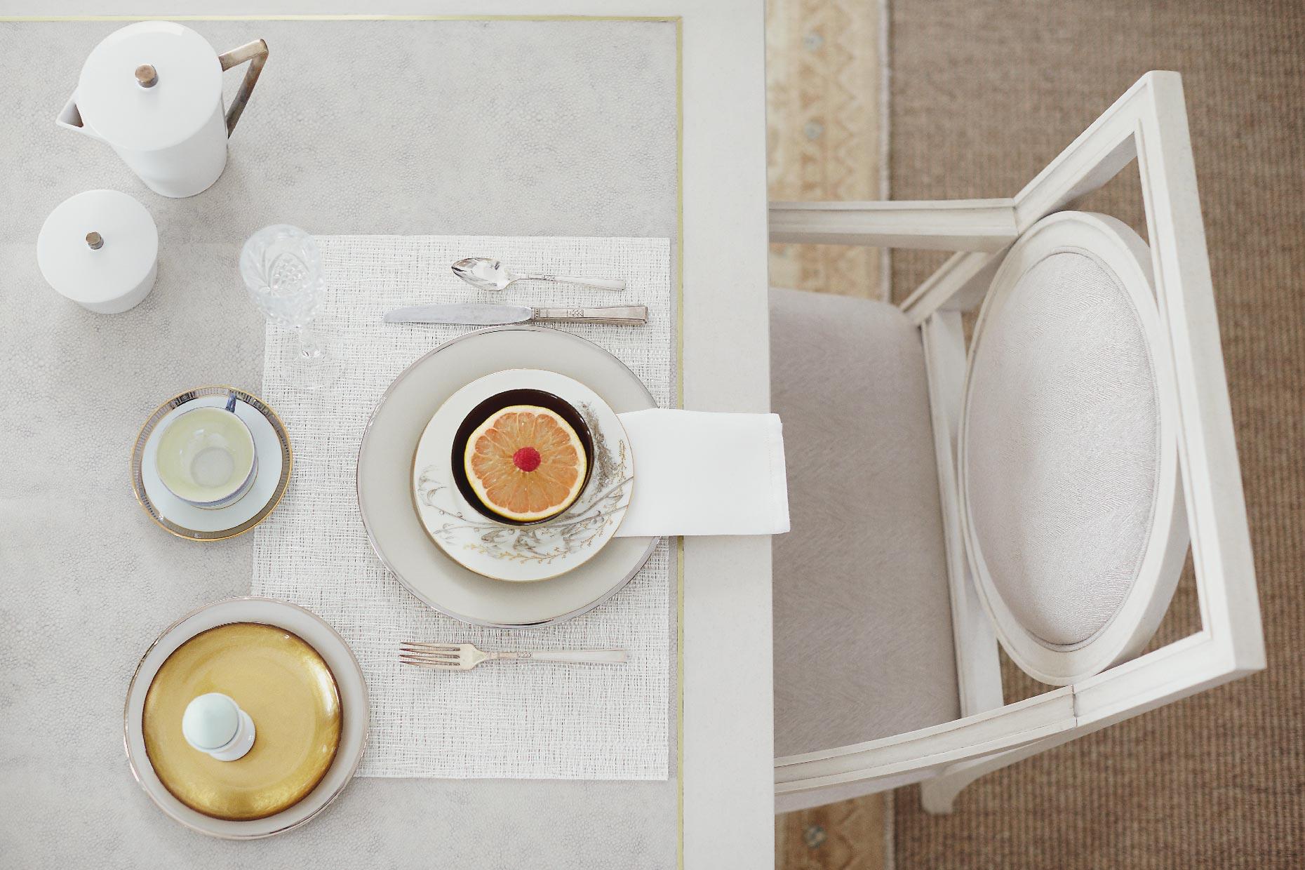 Stacey Van Berkel Photography I Elegant breakfast of pineapple & boiled egg I White on white I Bernhardt Furniture