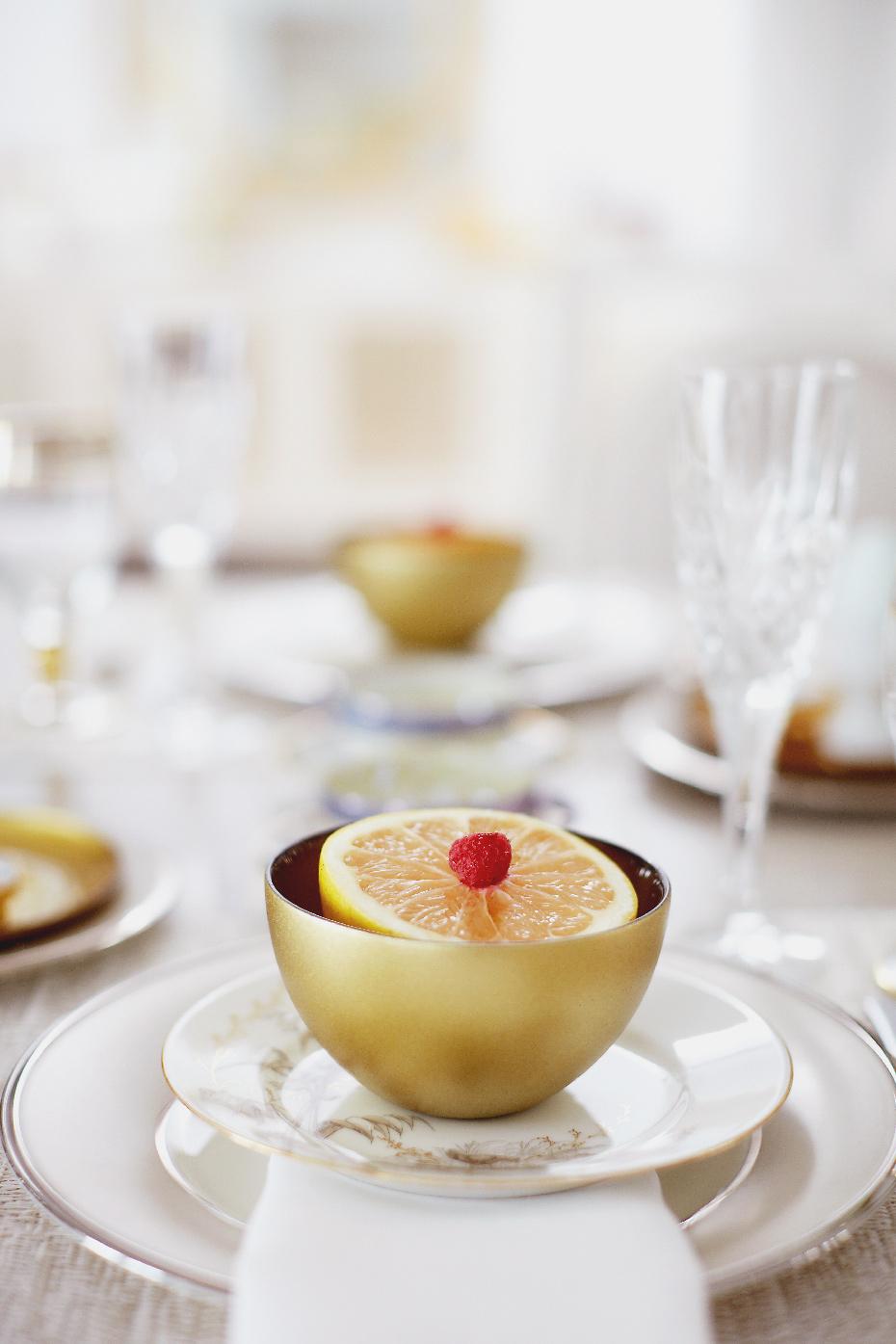 Stacey Van Berkel Photography I Elegant breakfast of raspberry topped grapefruit