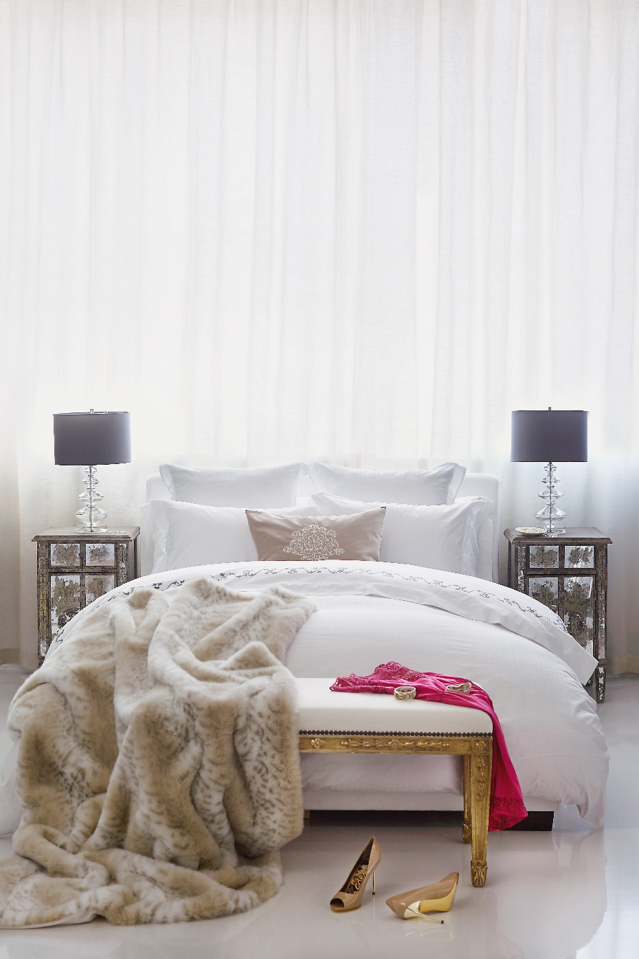 Stacey Van Berkel Photography I Glamourous bed with fur throw I Au LIt Fine Linens I Toronto, Ontario, Canada