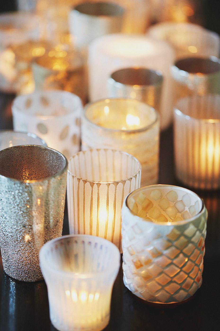 Stacey Van Berkel Photography I Cluster of golden candles I Bernhardt Furniture