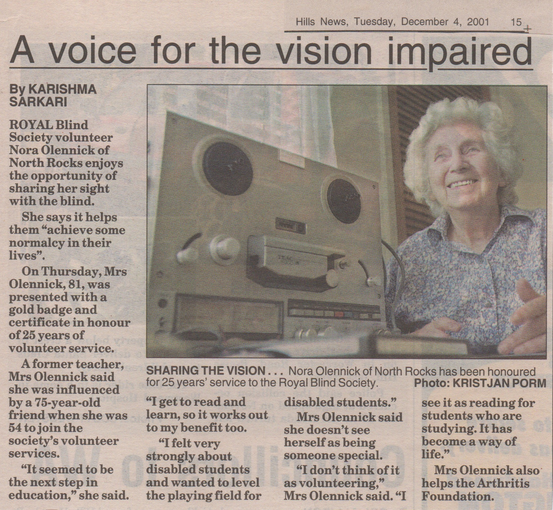 Royal Blind Society Volunteer News Article