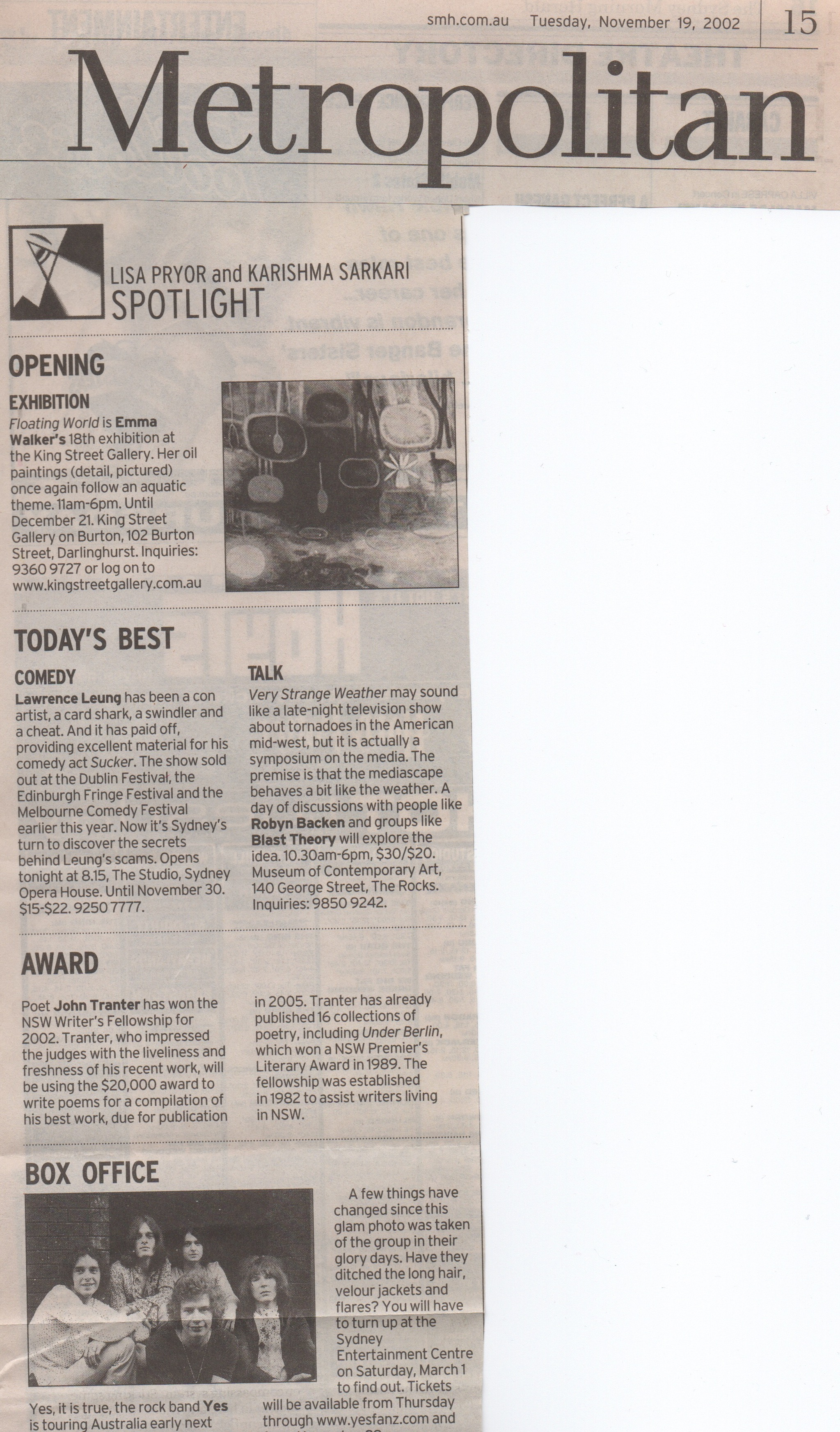 Spotlight Column Metropolitan section Nov 1