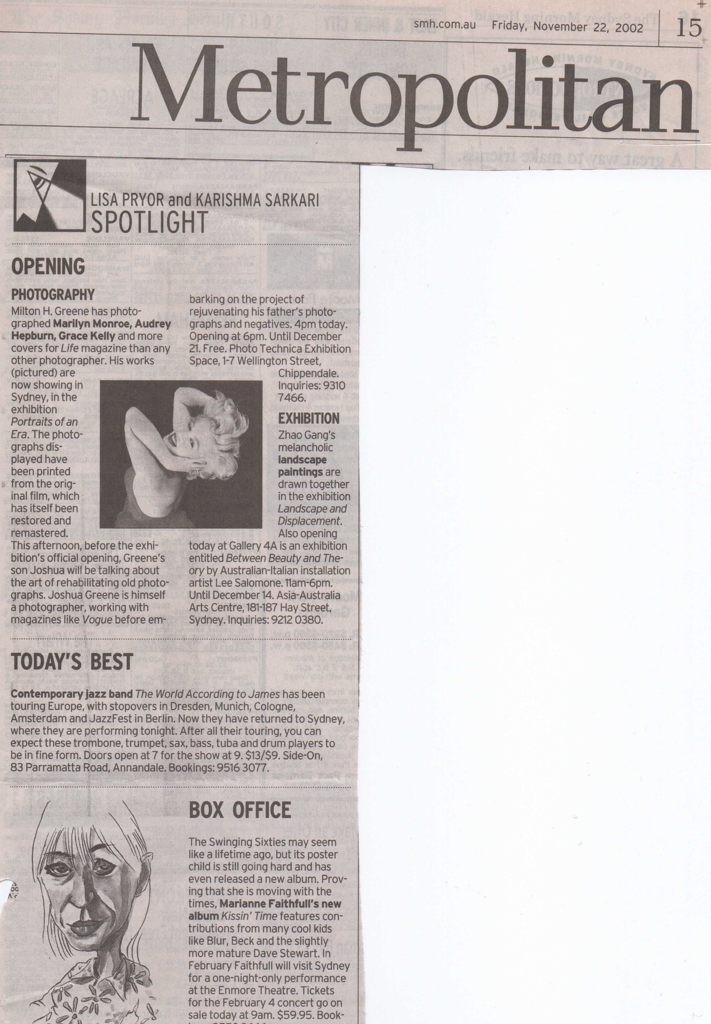 Spotlight Column Metropolitan section Nov 2