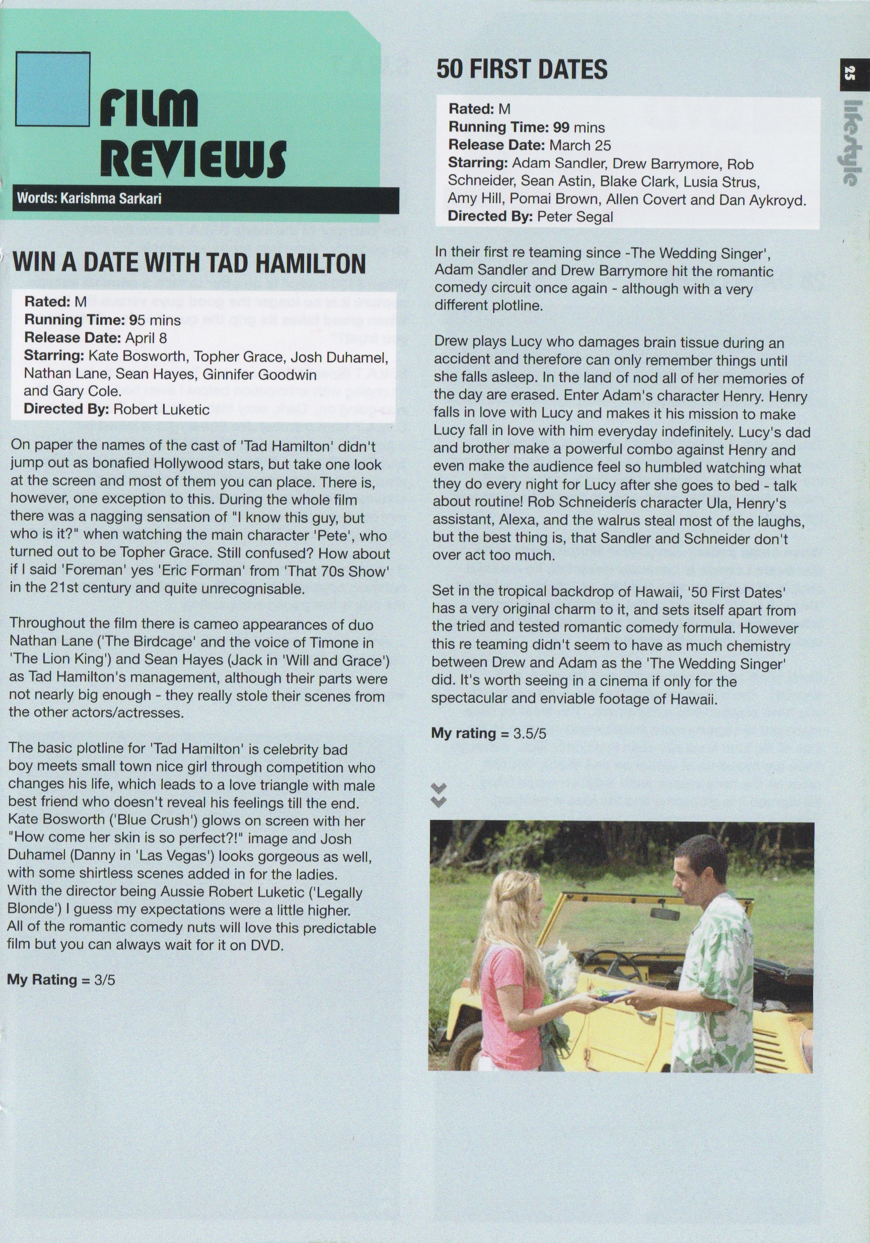 Film Reviews Win A Date With Tad Hamilton & 50 First Dates