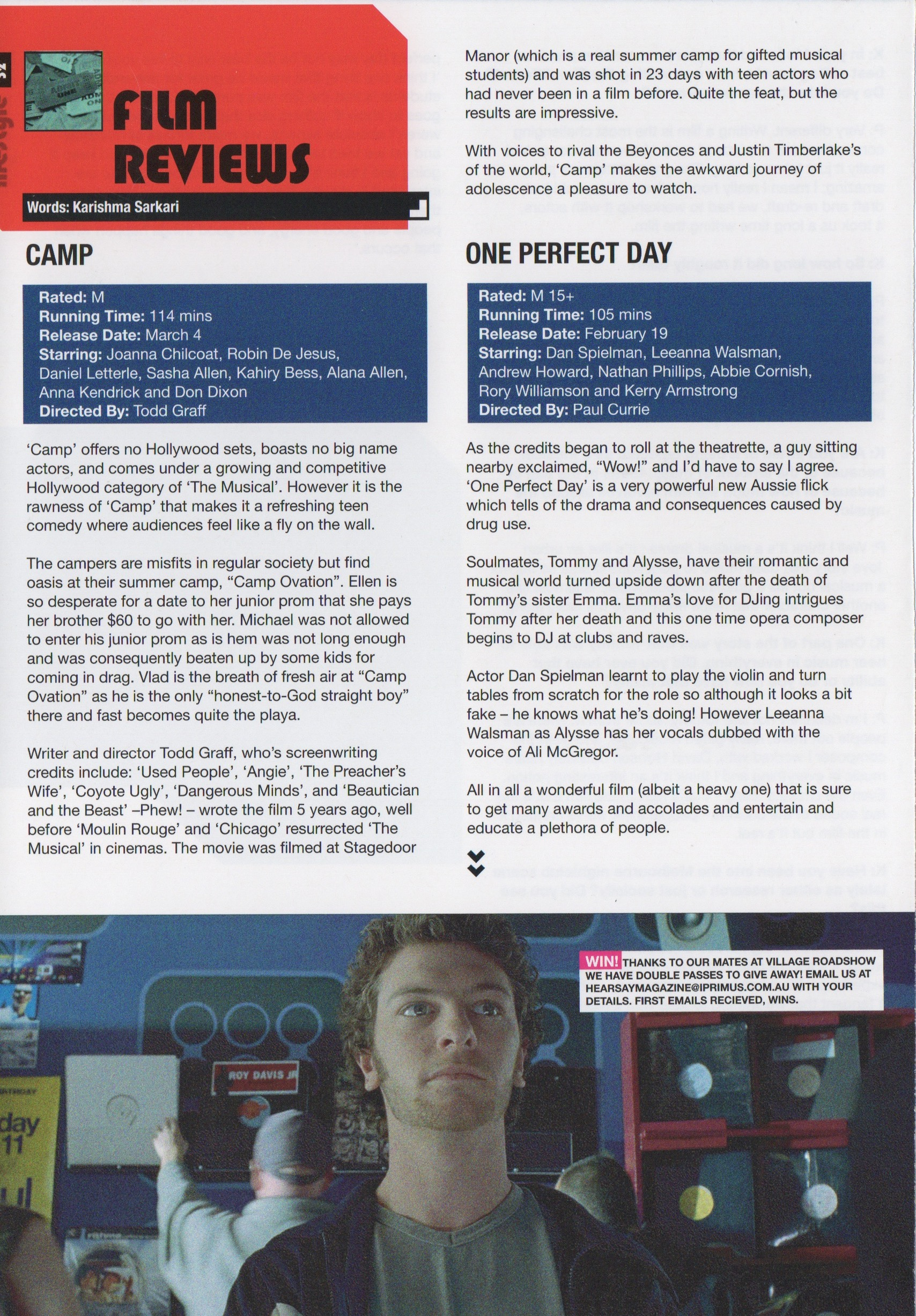 Film Review Camp & One Perfect Day