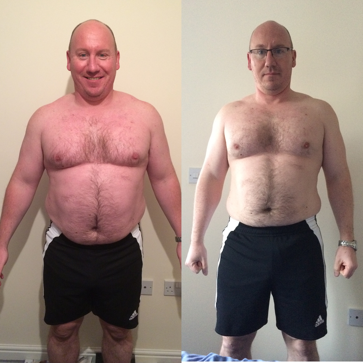 """SEAN CAVANAGH   """"I started the New Year with a mission to lose weight as most people do, over the years I've tried most fads/training ideas etc and even several PT's but never really had the results I wanted with them.  I'm fortunate enough to train at UFB and so had seen Adam around (he's hard to miss!) but what really sold me was when I saw the results he'd had with other clients on his web page, as soon as I saw that I knew I needed Adams help.My starting shape/size was similar to Brendan's so I was hoping for Adam to do something similar with me.  After an initial consultation where Adam finds out your current level of fitness etc and what you want to achieve, he then writes you a detailed bespoke Training and Nutrition plan covering each day.This is one of the major plus points of Adams training as it can be hard to keep the nutrition side on track and so having a detailed plan of what to eat helps so much with meal prep.Having a detailed training plan also gives you something to aim for and another benefit of Adams training is he gets you to focus on technique and also offers some great training videos if you are unsure about any exercises.Throughout the training Adam keeps things fresh by changing your routine at set periods so it doesn't get stale and will also take any feedback and tweak the training accordingly.Adams knowledge and attention to detail spurred me on to complete my 12 week course (whereas in the past I would have given up after not seeing the results I wanted), and seeing the results in the mirror and on the scales each week just motivated me to push myself harder.  I have just completed my 12 week program with Adam and have already signed up for more training, in the brief time I have been training with Adam I have seen such amazing results and have lost almost 2 stone already!I cannot recommend Adam highly enough and as can be seen from his website the results speak for themselves, whatever your goal is.I'm going to keep training with him u"""