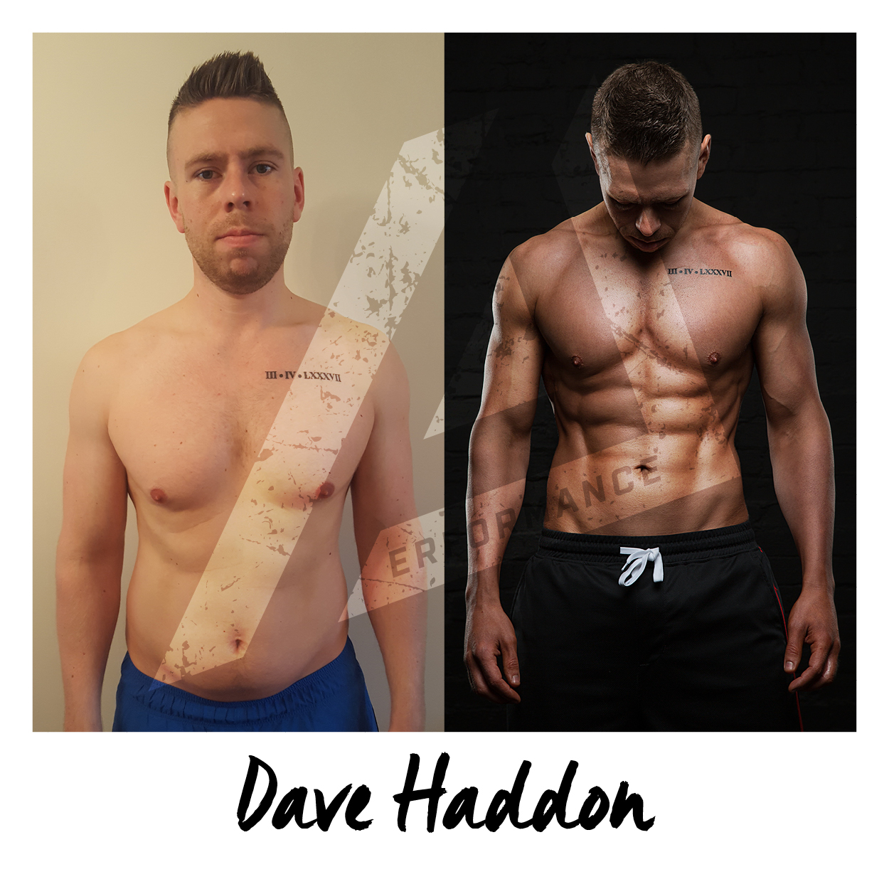 I'd like to introduce Dave who took part in my 12-Week Photoshoot Challenge and got some insane results… (as you can see!). Dave was a pleasure to coach, really brought into the whole process 110% and was just like a sponge the 12 weeks, just soaking up everything I told him!