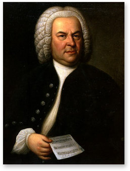 Portrait of Bach, aged 61, by  E. G. Haussmann , 1748
