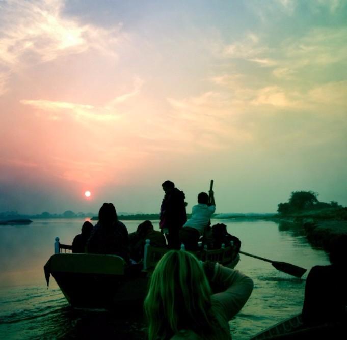 Boat on the Ganges, Vrindavan, India.