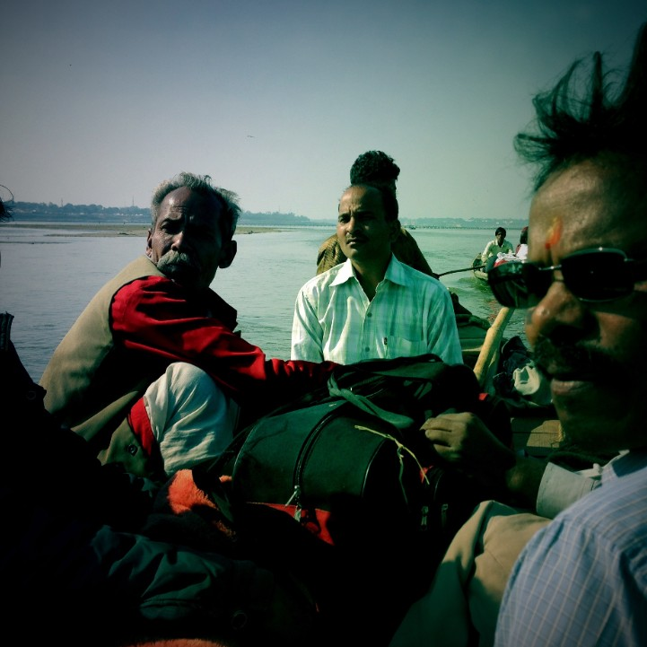 Boat passengers on the Ganges