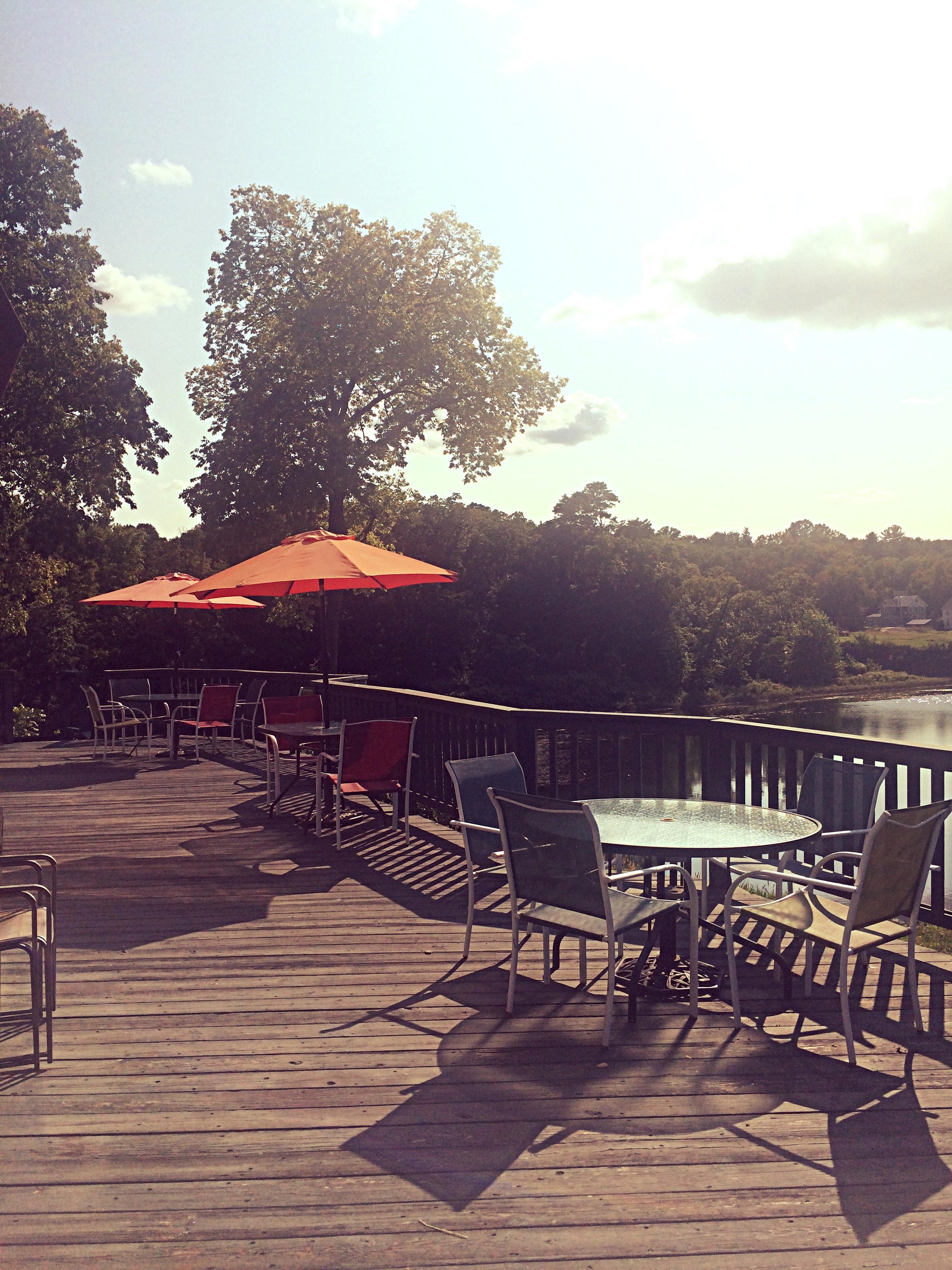Meditation overlooking the Catskill Creek at Tatiana's Italian Restaurant, Catskill, NY.