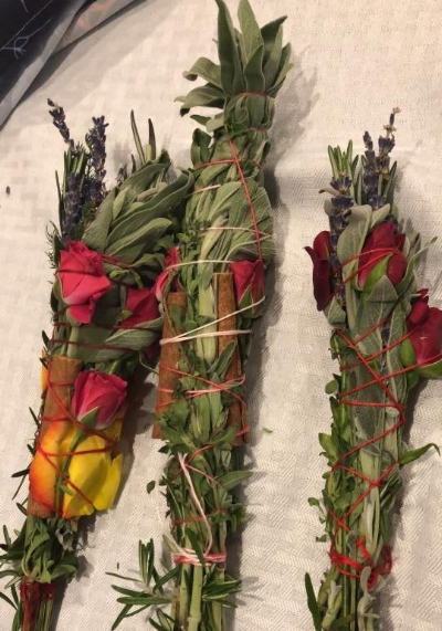 Our guests handcrafted smudge sticks.