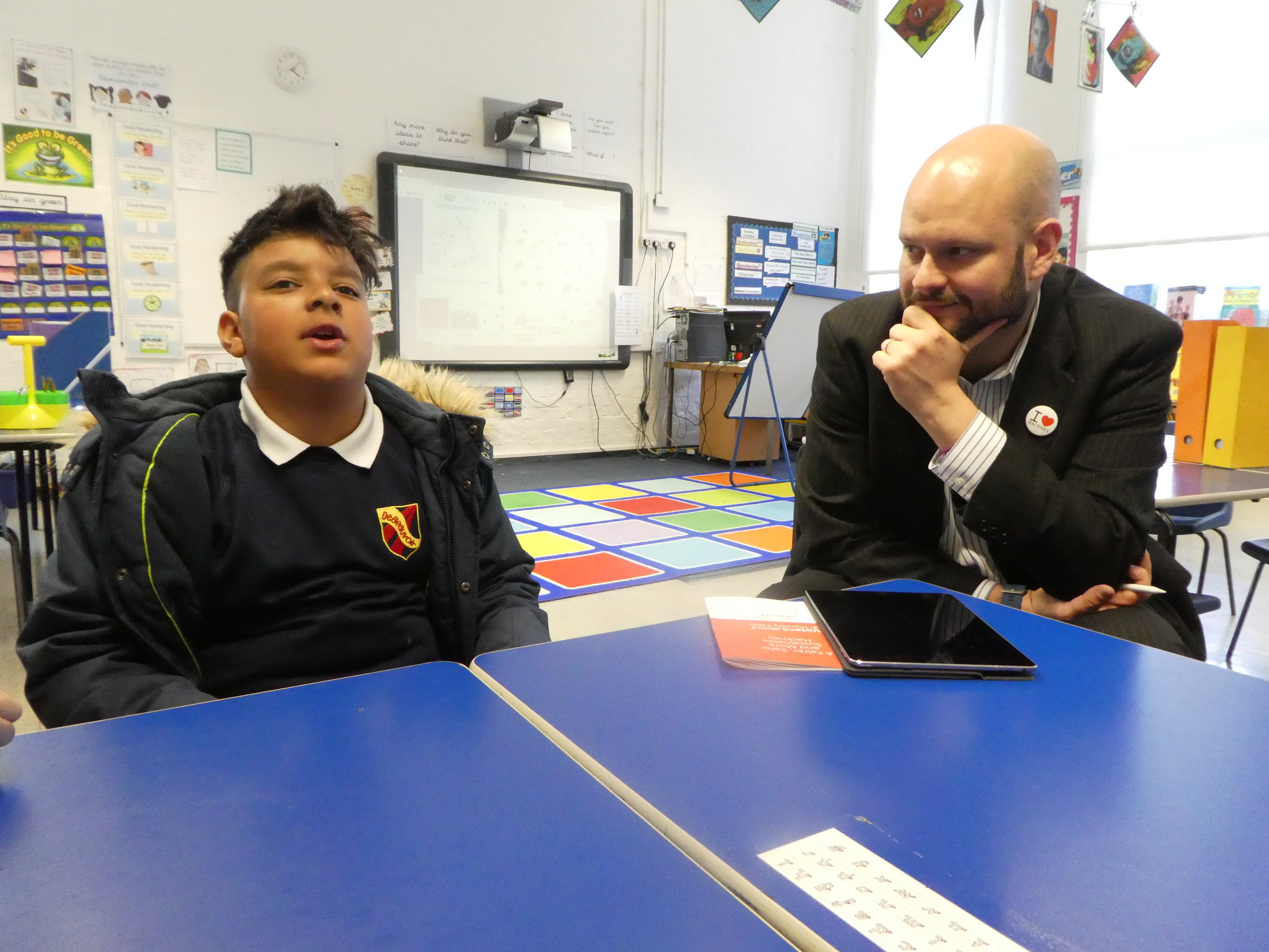 Mayor of Hackney  listening to pupils at  De Beauvoir Primary School . 2018
