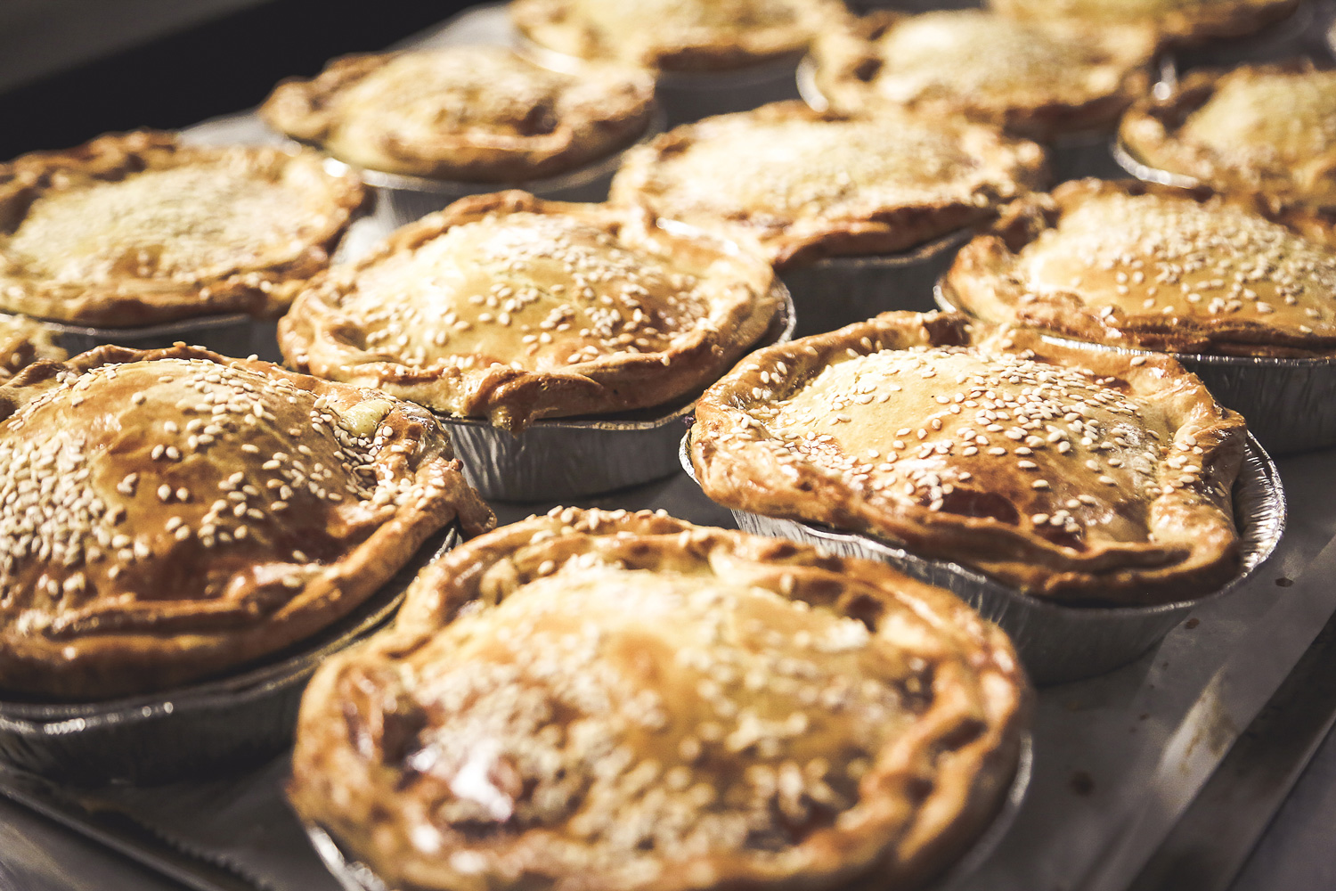 Fresh Pieman Pies out of the Oven