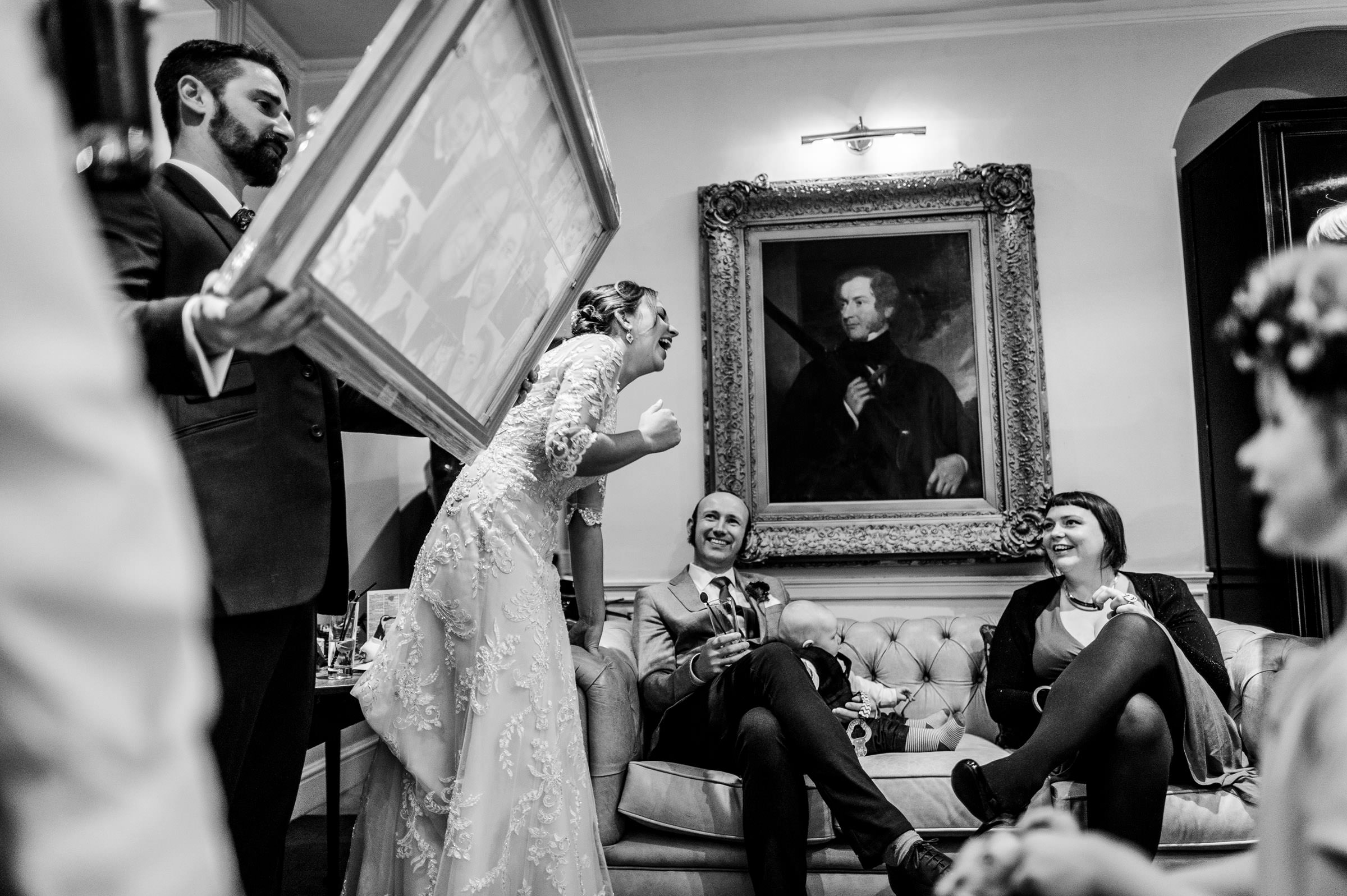 honest and authentic black and white wedding photo