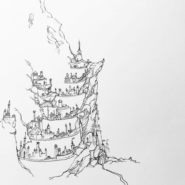 Minas Tirith Work in progress . I've granted myself some creative liberty to explore this world that I've inhabited for most of my life. I'm finding myself invigorated and spurred on to interpret Middle Earth for my own enjoyment and to see the world anew. Keep your eyes posted for drawings inspired by the master. . . . #wip #progress #tolkien #lotr #minastirith #gondor #drawing #illustration #pendrawing #handdrawn #linedrawing #micron #micronpen