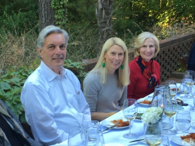 Pictured: Tom with his wife Barbara Hunter McGuire and daughter Martha Sickles Sanders, during a spring event at Joslin Garden.