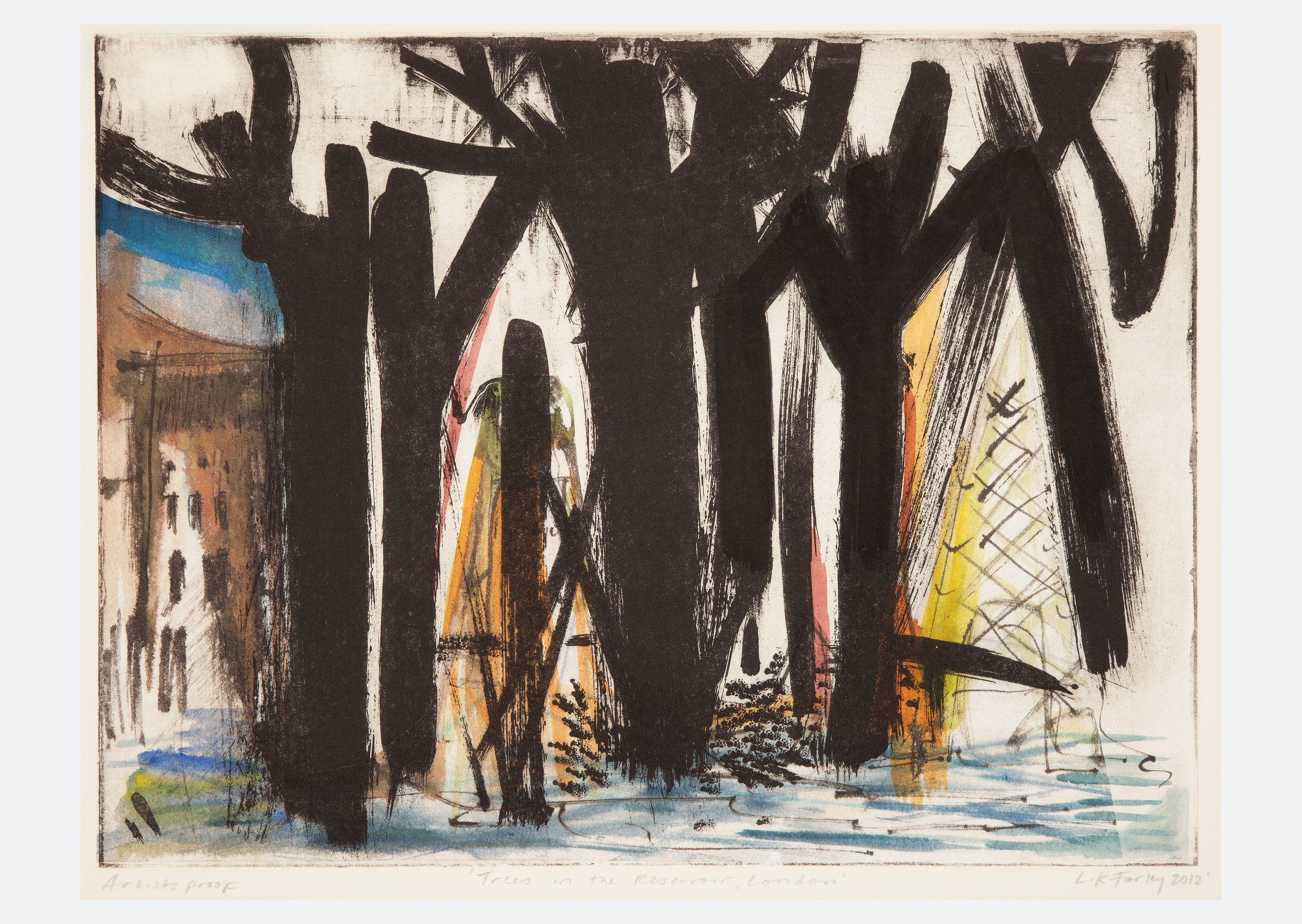 Reservoir trees, North London 2012  Etching, watercolour and ink. Size: 52x58cm