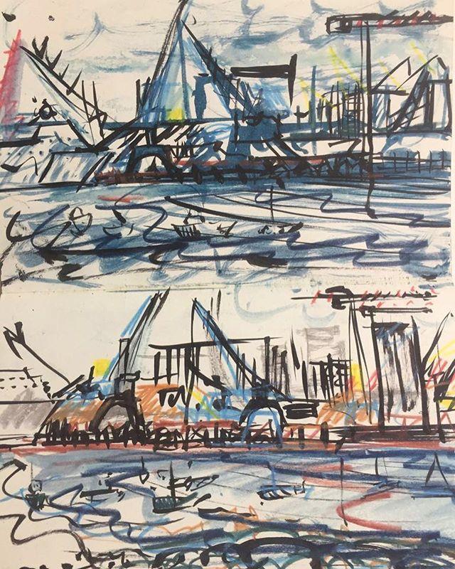 'Ile de Re' Sketchbook⠀ La Rochelle cranes⠀ #sketchbooks #IledeRe ⠀ .⠀ .⠀ .⠀ #art #artist #monoprint #abstract #abstractartist #colour #creative #fineart #gallery #paint 'instaart #creative #artwork #inspiration #artistoninstagram #artlovers #artnews #artoftheday #artreception #artgallery #artstudio #artinfo #contemporaryart #drawing #design #artistsofinstagram
