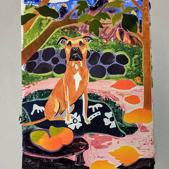 81-84/100 Luna in Tahiti #100daysoflibbydrawspetportraits #the100dayproject #monoprinting . . . #watercolor #oilinks #stencilart #duralar #craftfoam #pitbullsofinstagram #pitbull #gauguin #gauguininspired #tahiti #showyourwork #artworkshop