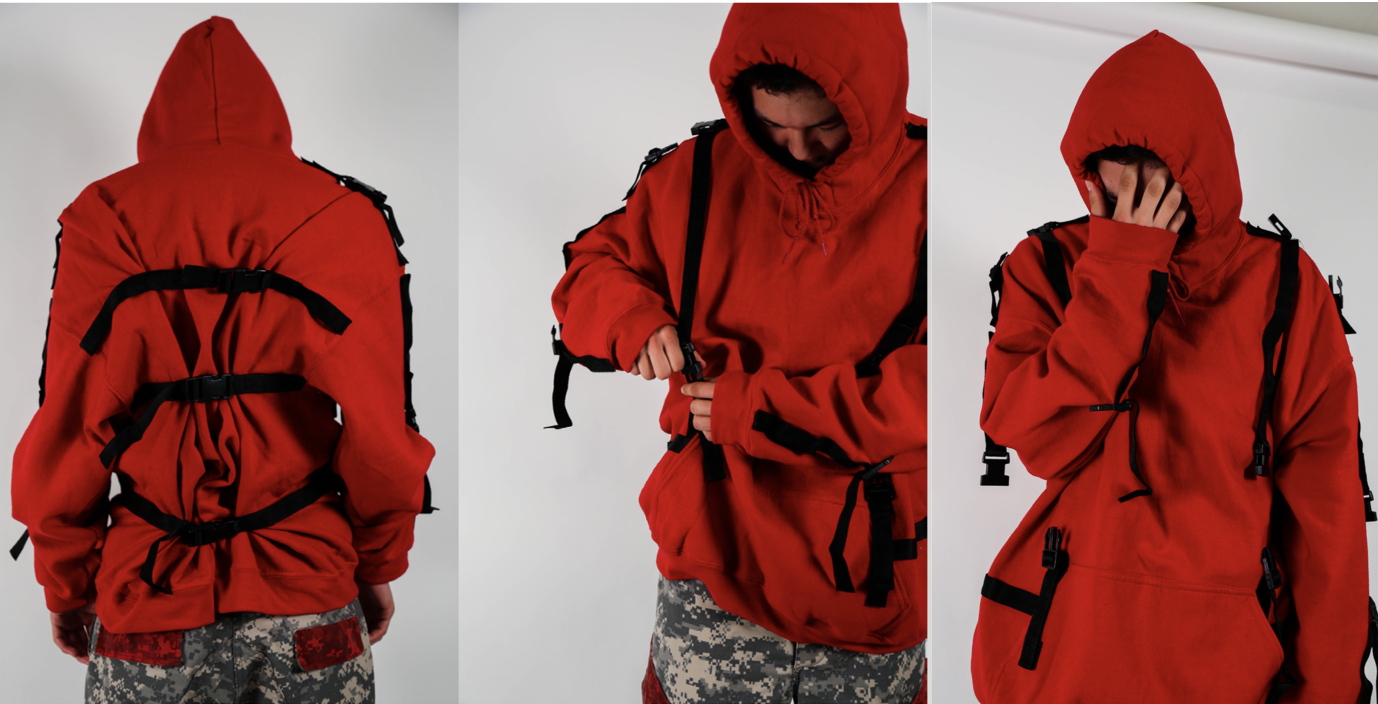 Red harness hoodie made in 2017.